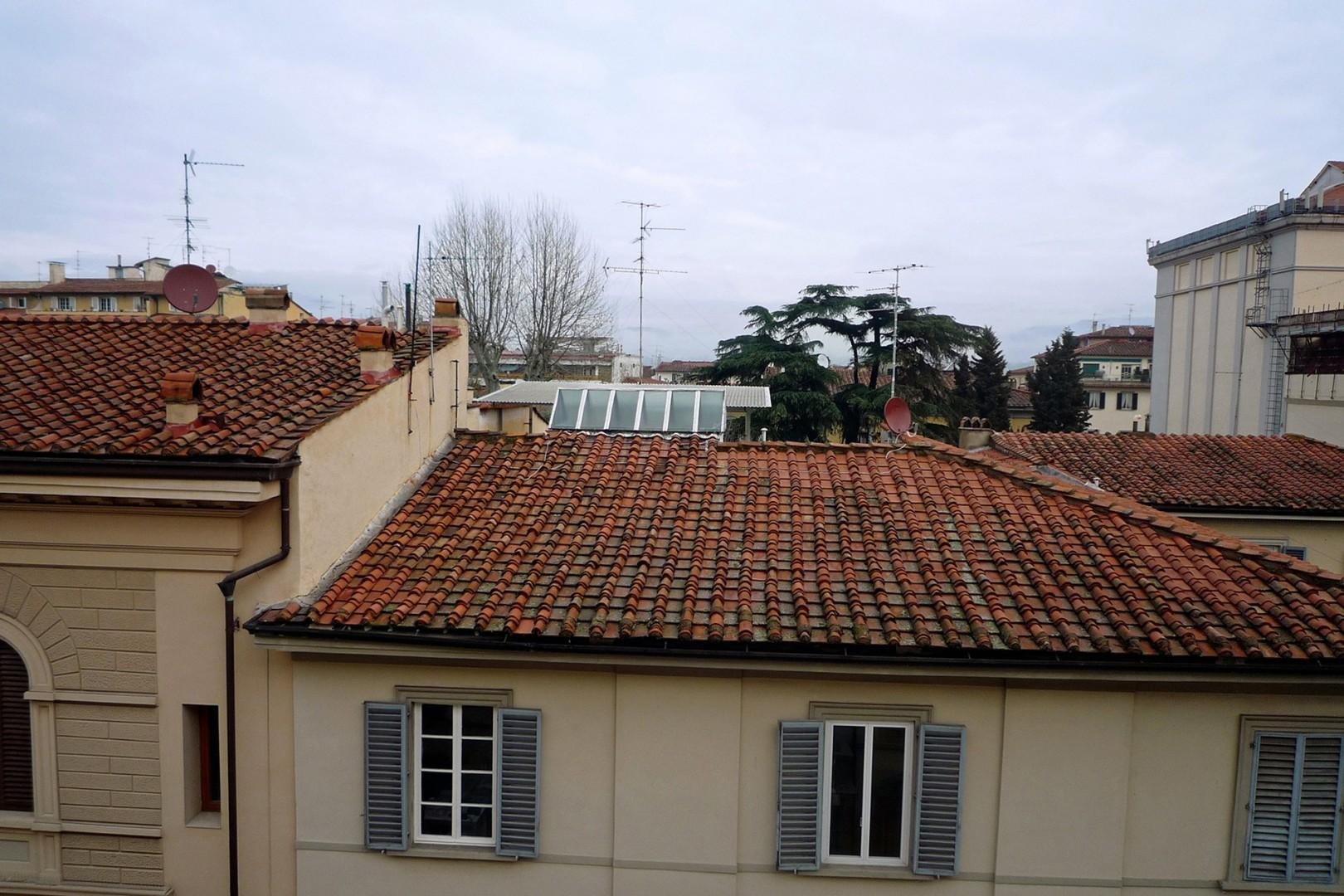 Pleasant views from the living room window of rooftops and trees in the distance.