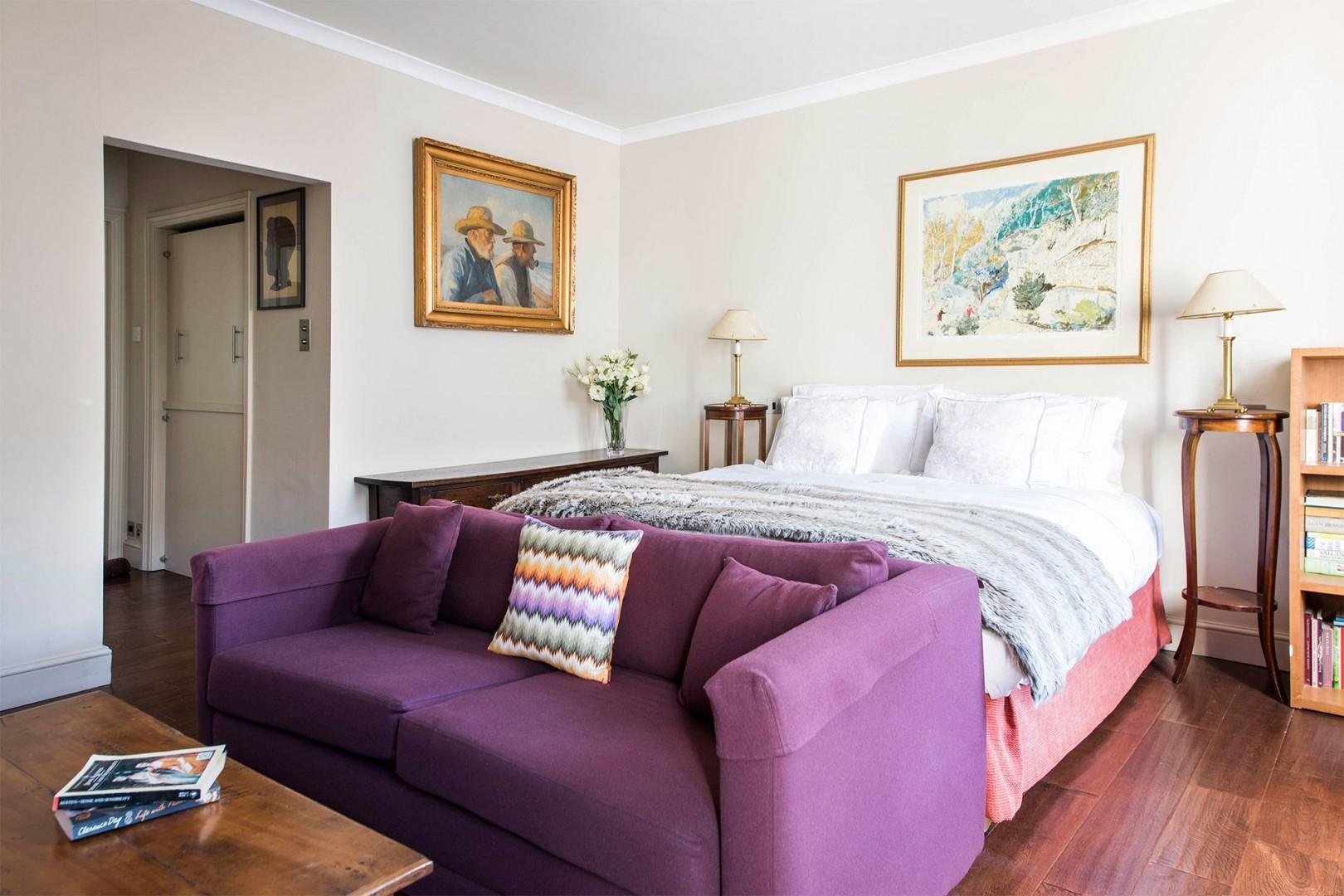 Sofa converts into a comfortable bed at night