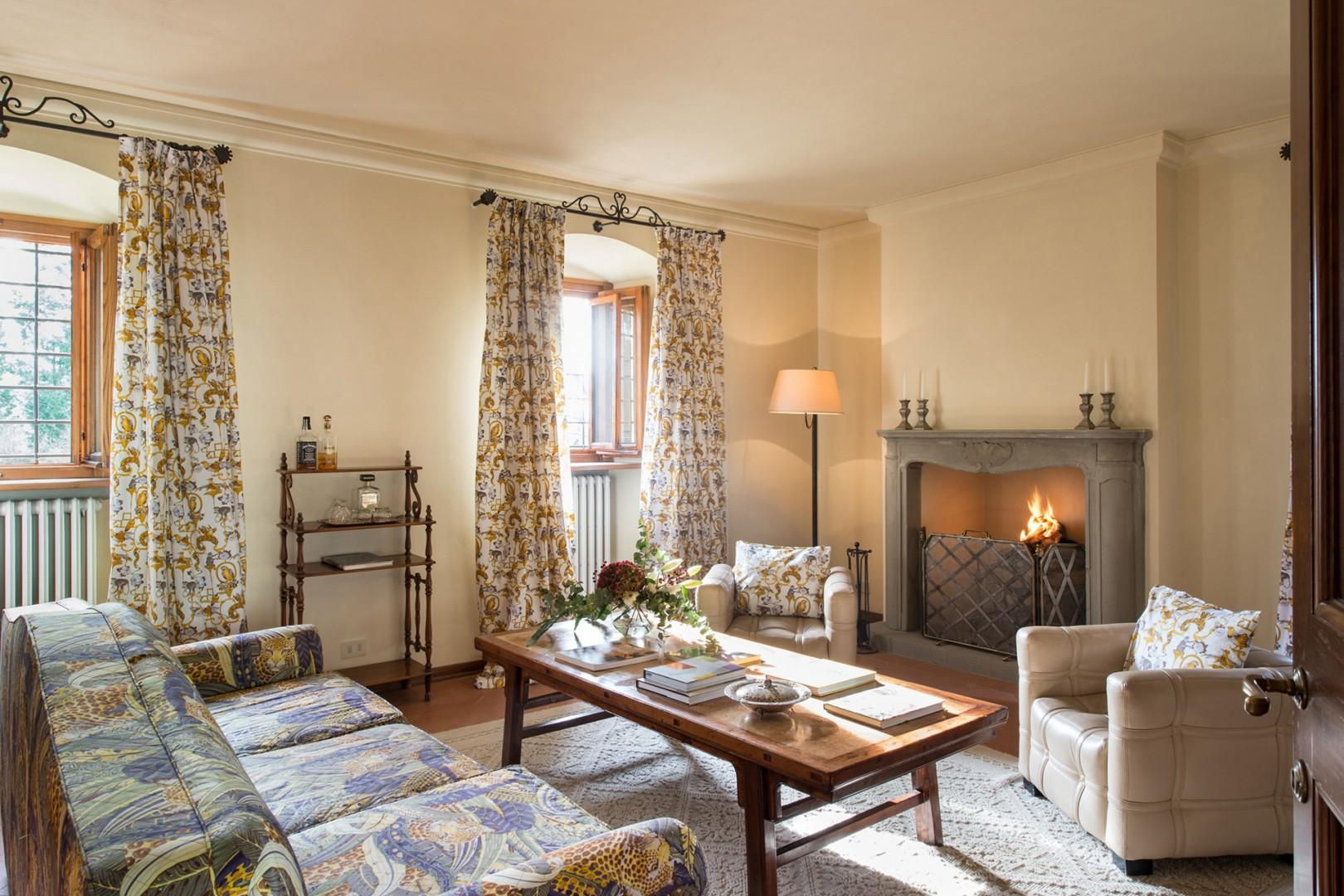 Highlight of the living areas is the cozy fireplace.