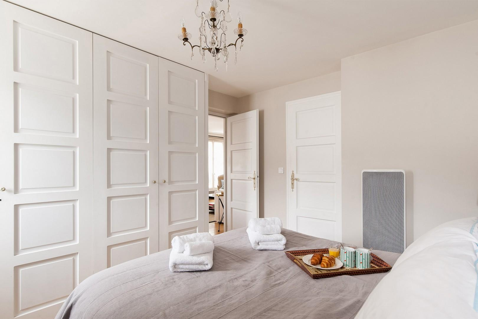 Take advantage of the large built in closets for extra storage.
