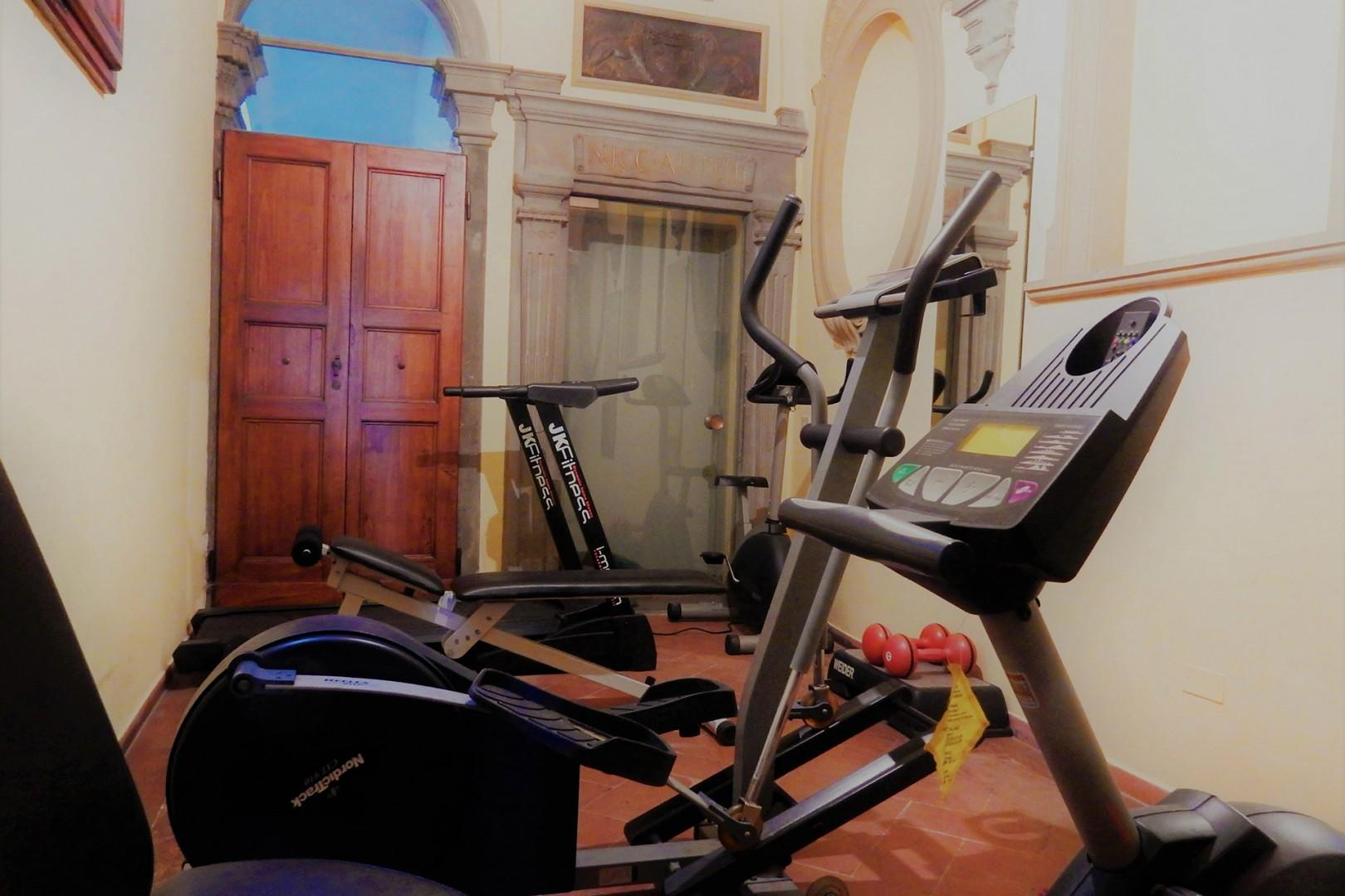 A little gym for the guests in Palazzo Santa Croce.