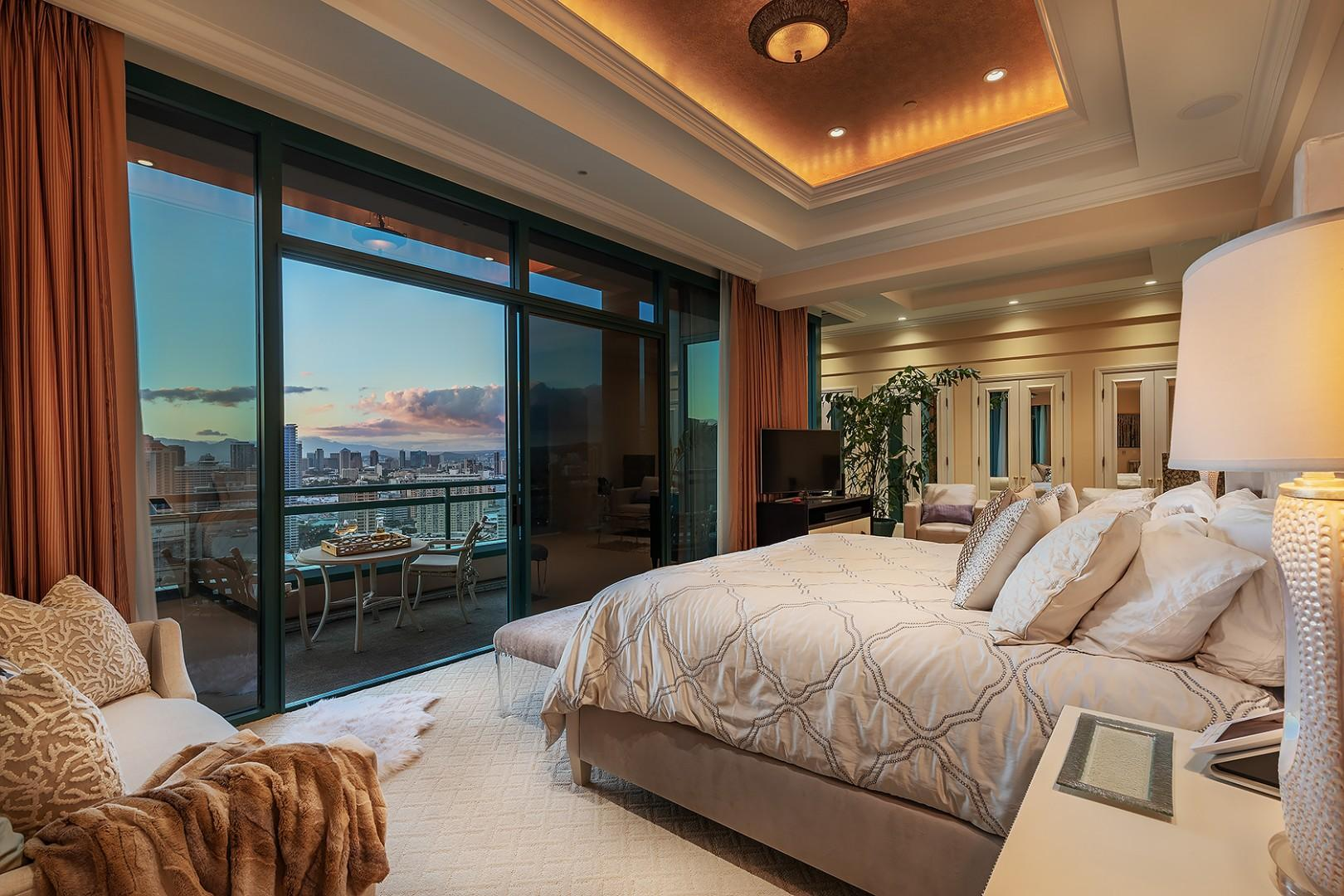 Master Bedroom Suite with Sitting Area and Expansive Lanai overlooking Honolulu