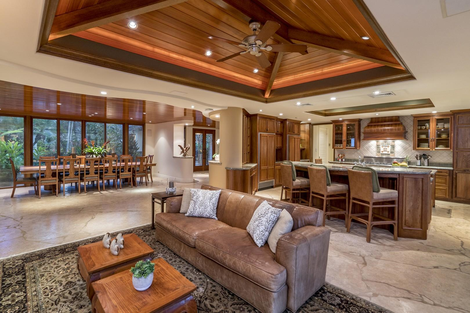 Main house: Kitchen opens to the dining area.  Formal dining seats 14.