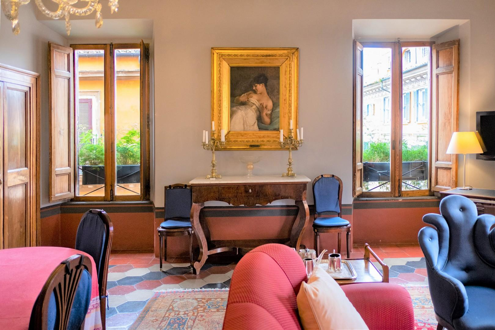 There are many beautiful antiques and fine paintings from the owner's ancestral home in Puglia.