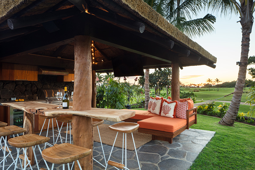 Entertain guests from the cabana of this luxury vacation rental in Kukuiula