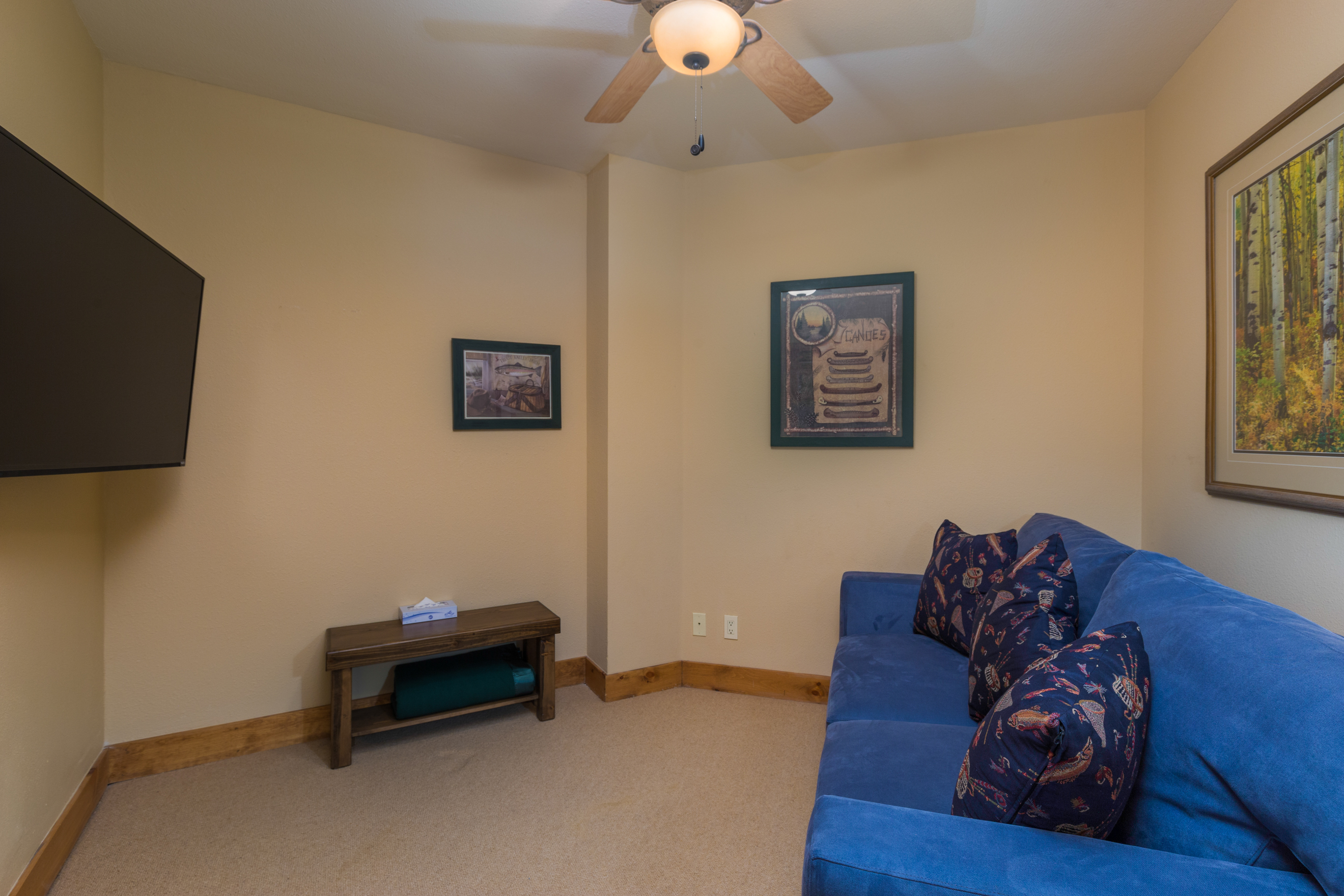 The den can be closed off from the main living space and has a queen-sized sleeper sofa and a mounted flat screen TV.