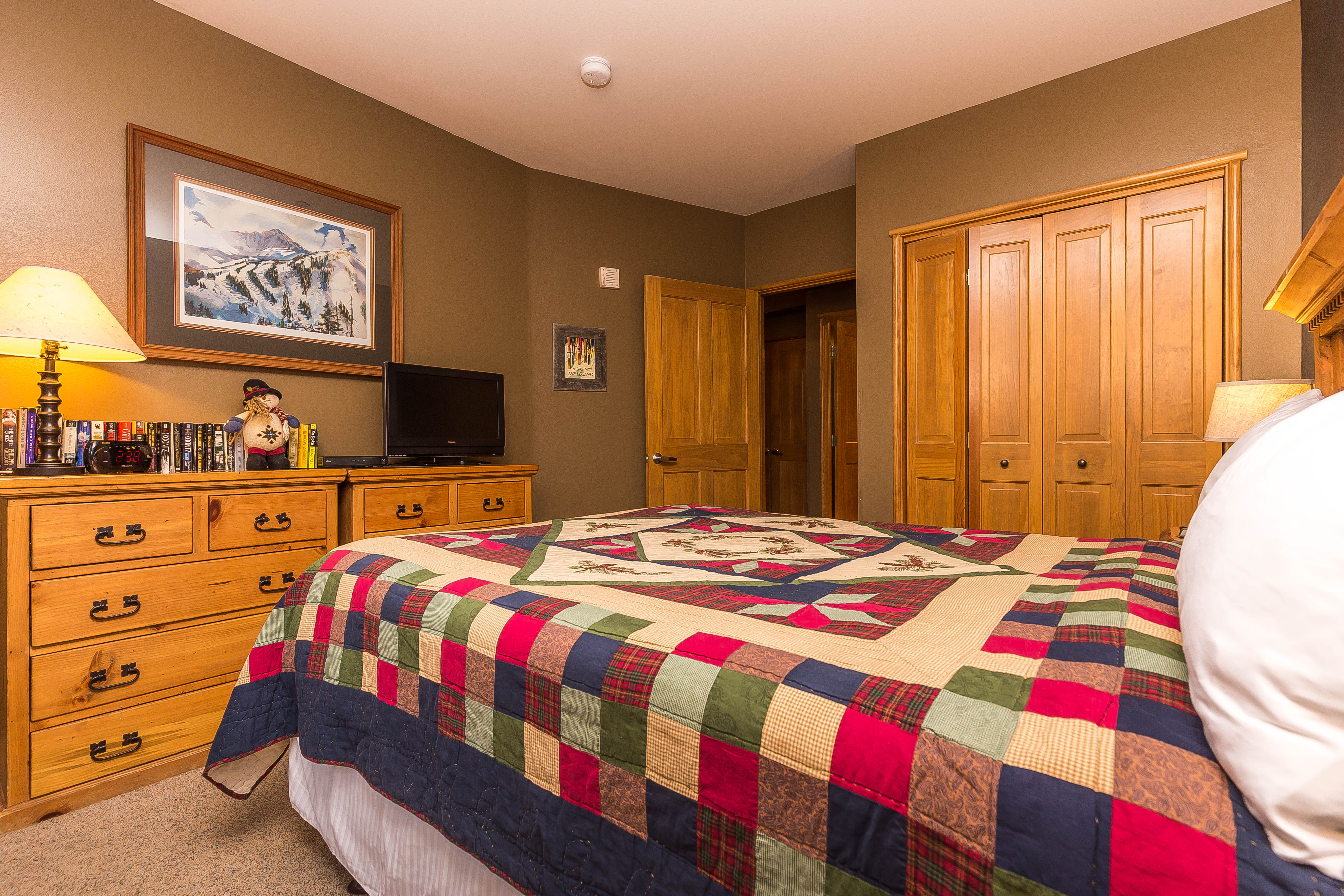 The bedroom features a queen-sized bed and a flat screen TV with a DVD player.