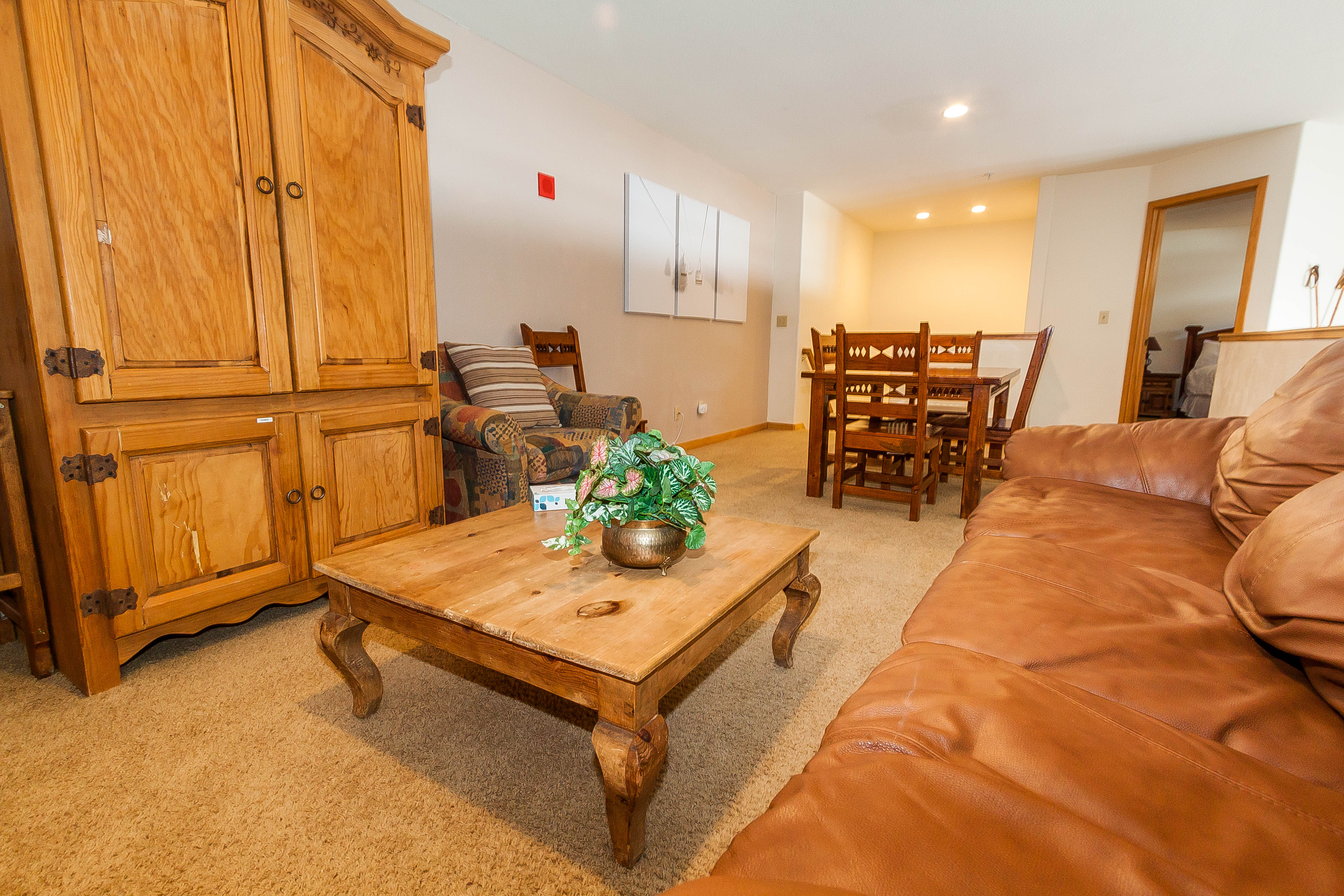 The upstairs loft offers a queen-sized sleeper sofa, a flat screen TV and private laundry.