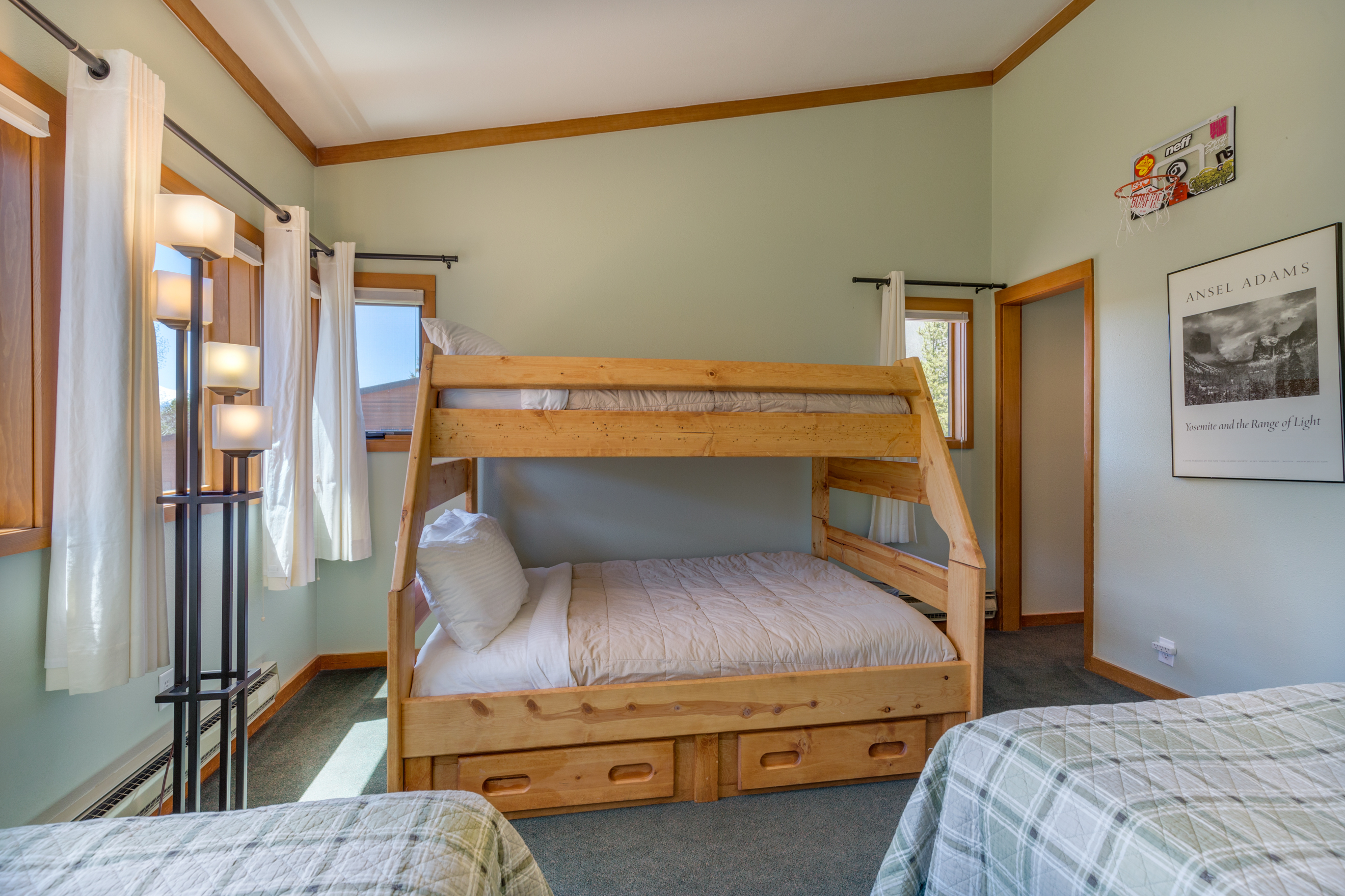 The second guest bedroom sleeps five with two twin beds and a twin-over-full bunk bed.