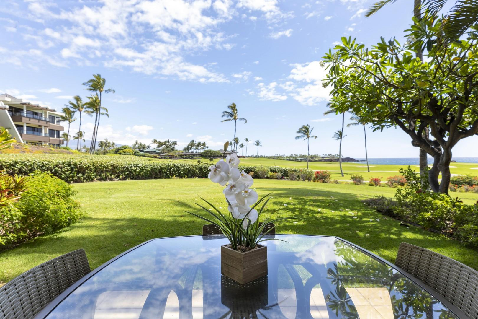 Relax and your private lanai gazing out to the ocean views.