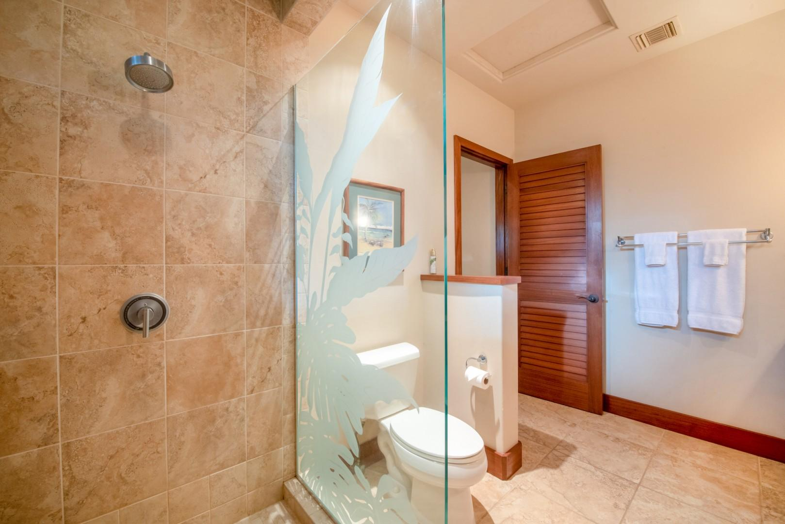 Downstairs Guest Room Bath w/ Large Glass Enclosed Shower