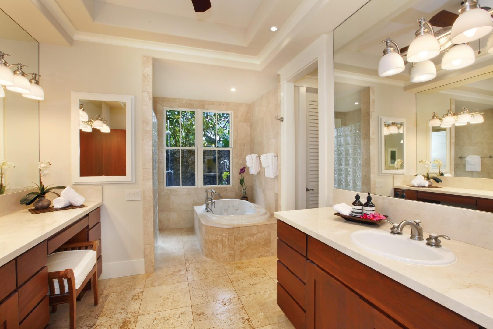 Downstairs master bathroom with jetted tub, lava rock shower and walk-in closet