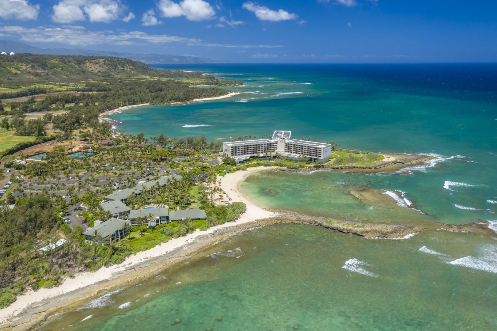 Overview of Turtle Bay Hotel and the adjacent Turtle Bay Villas, with the beach just steps away.