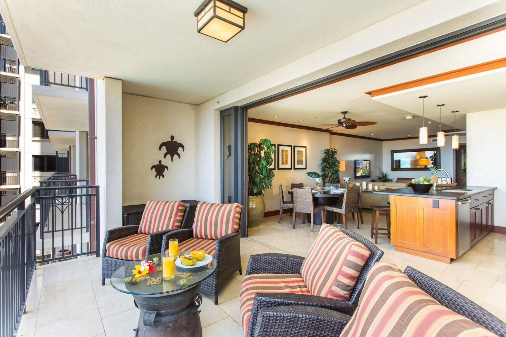 Large lanai with pocket lanai doors blends indoor and outdoor living. Small fridge on the lanai for additional beverages.
