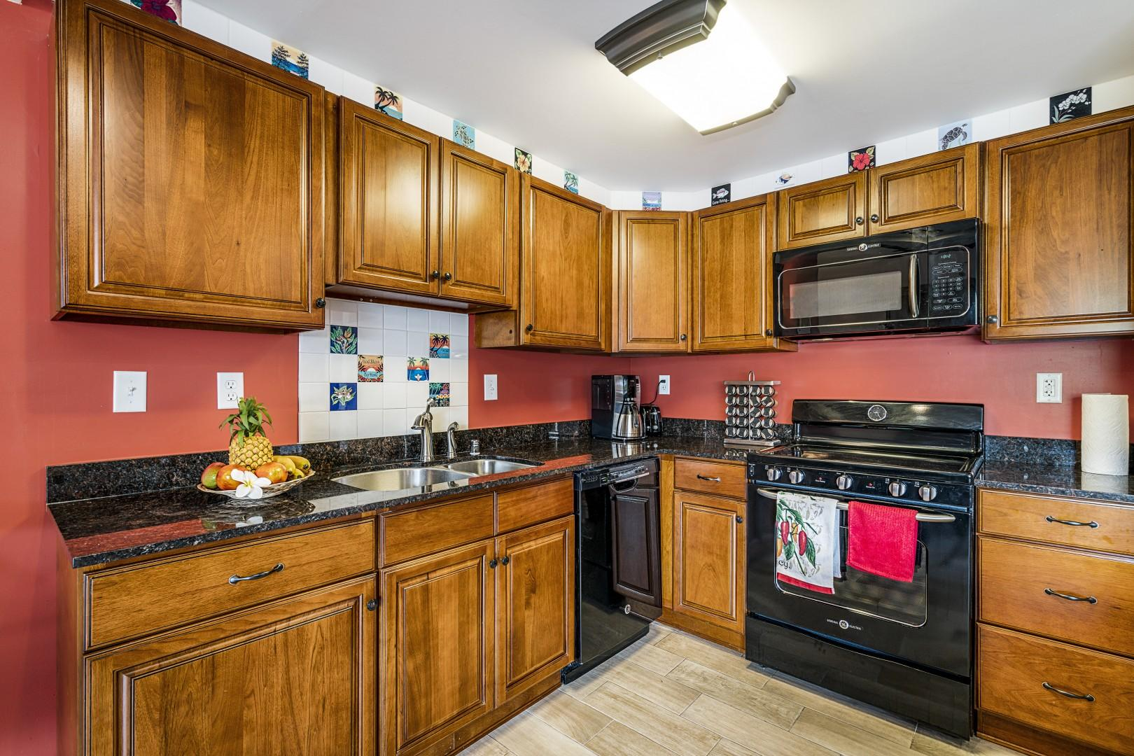 Beautiful kitchen with all the essentials to make a wonderful home cooked meal!