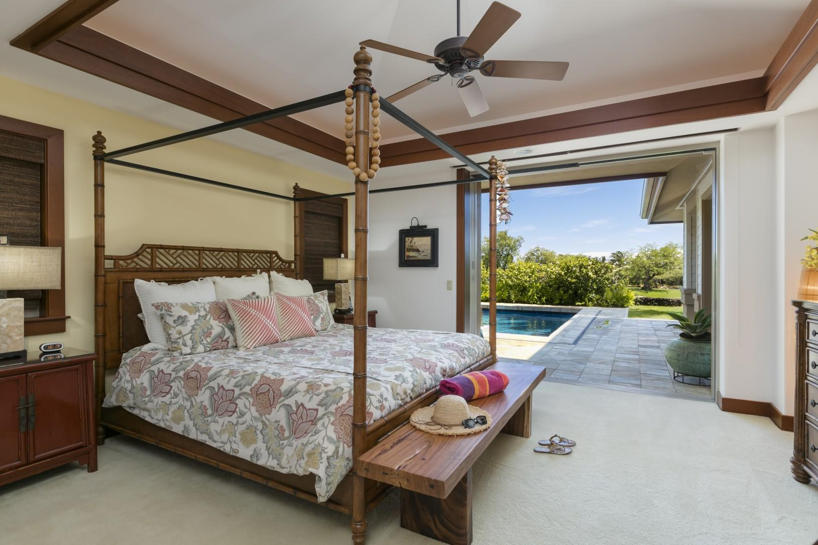 Master Bedroom Suite with KING BED with access to the heated spa and pool.