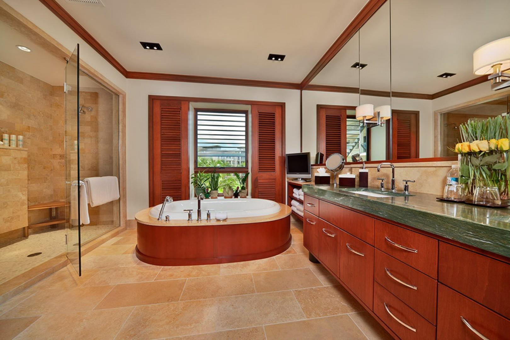 Sea Mist Villa 2403 - Master Bedroom Bath with Deep Tub, Television, Robes, Private WC, Dual Walk-in Shower, Dual Vanities, Scale, Make up mirror, Hair Dryer