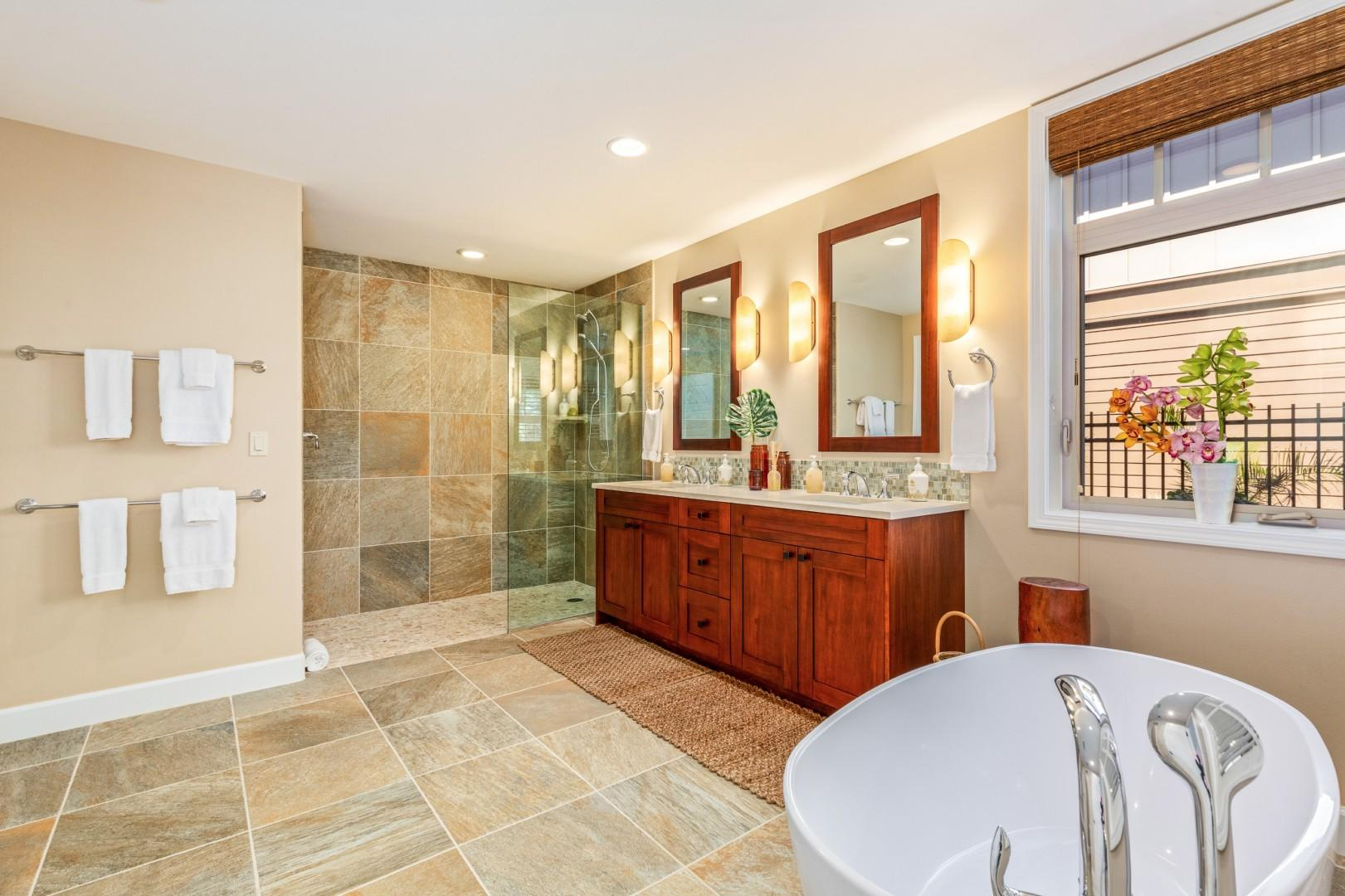 Alternate view of large and luxurious master bath.