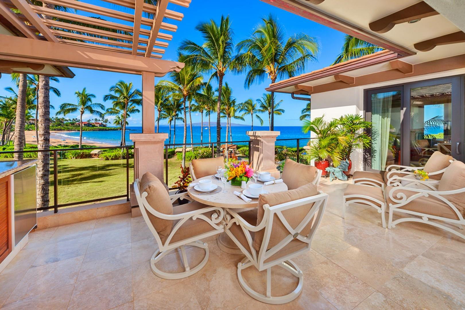 A201 Set Directly Above Wailea Beach with Panoramic Ocean and Beach Views, Outdoor Dining, Viking Grill, Chaise Lounge Chairs, Polished Marble Patio