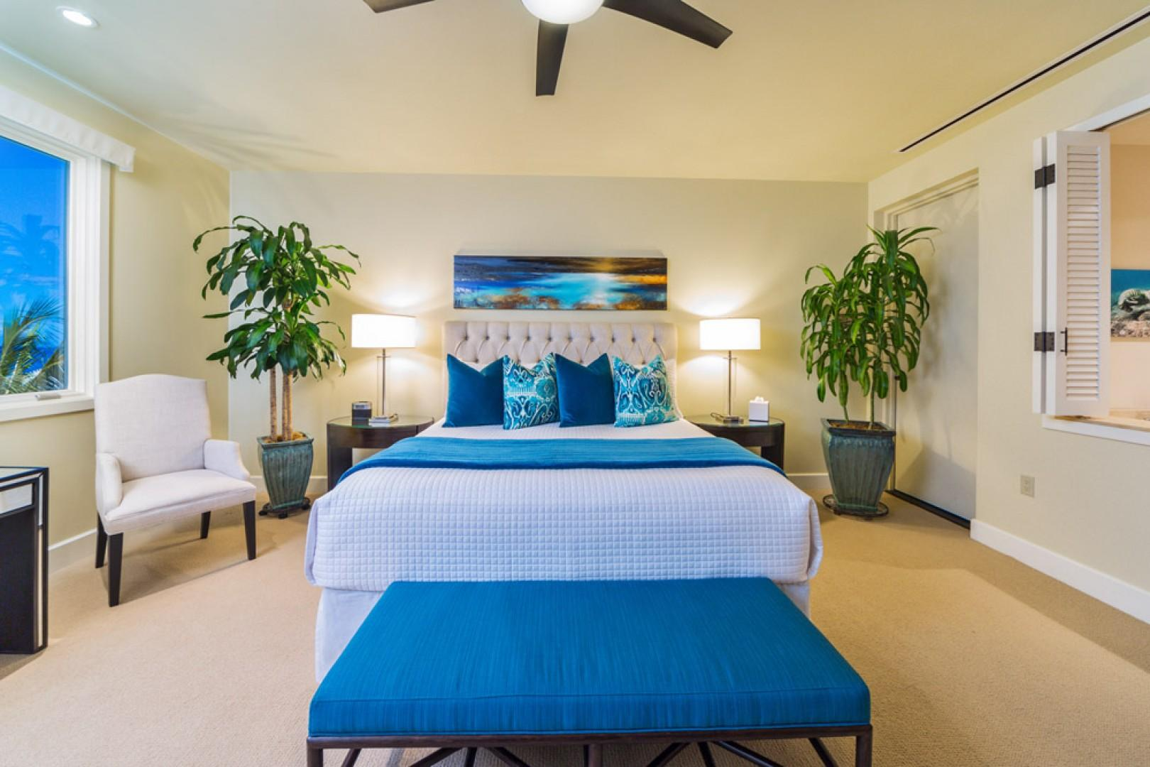 405 Sea Breeze Suite Ocean View Master Bedroom with Direct Ocean Patio Access, King Bed, Desk, Seating, Private Bath, and All New State of Art Entertainment System
