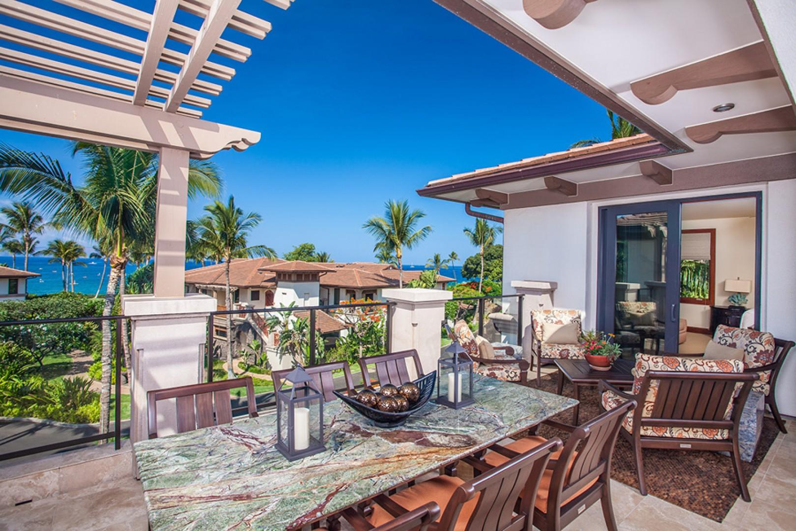 Outdoor Dining, BBQ and Lounging Terrace At C301. Direct Access to the Ocean Master Bedroom.