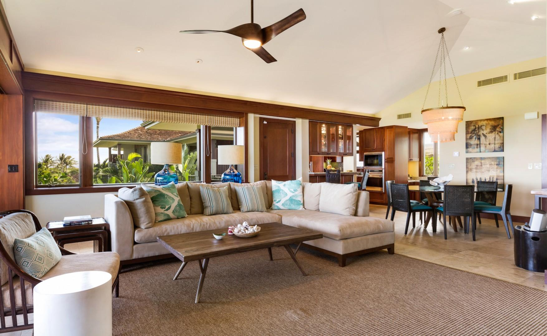 Open floor plan; living and dining rooms.