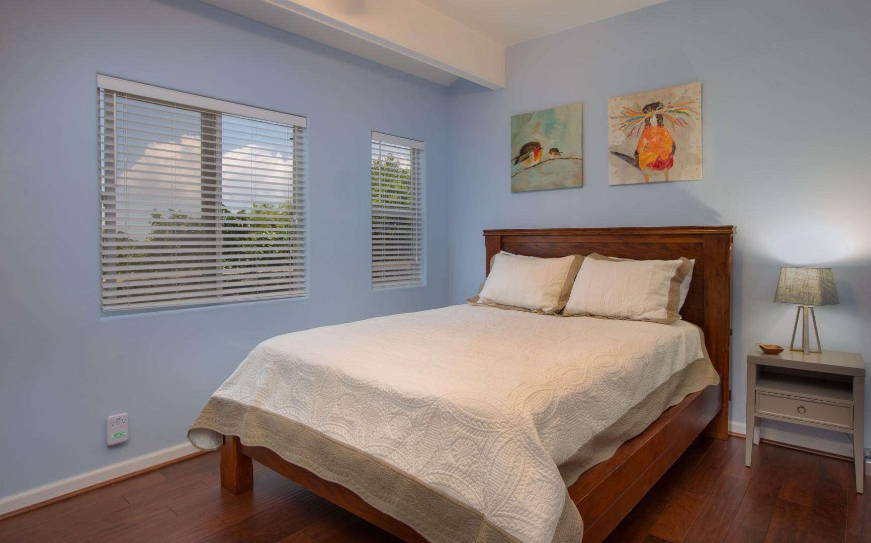 """Third bedroom, equipped with queen bed, spacious closet, and 32"""" HD smart TV."""