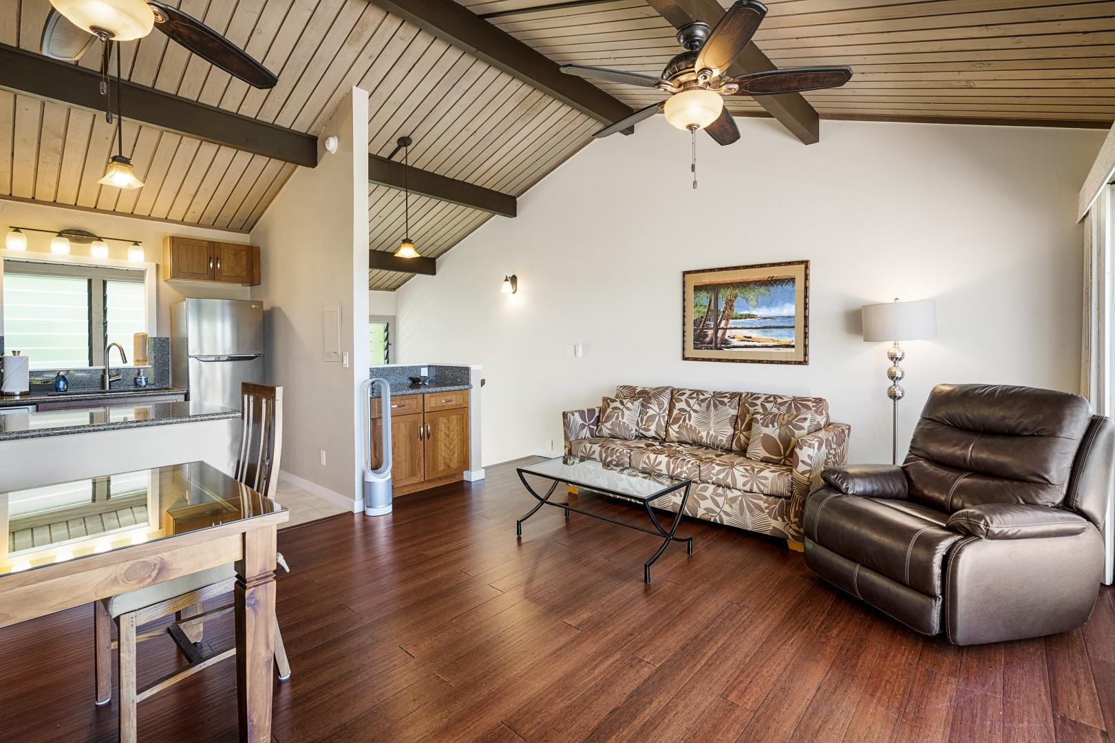 Comfortable living room with vaulted ceilings and Ocean views!