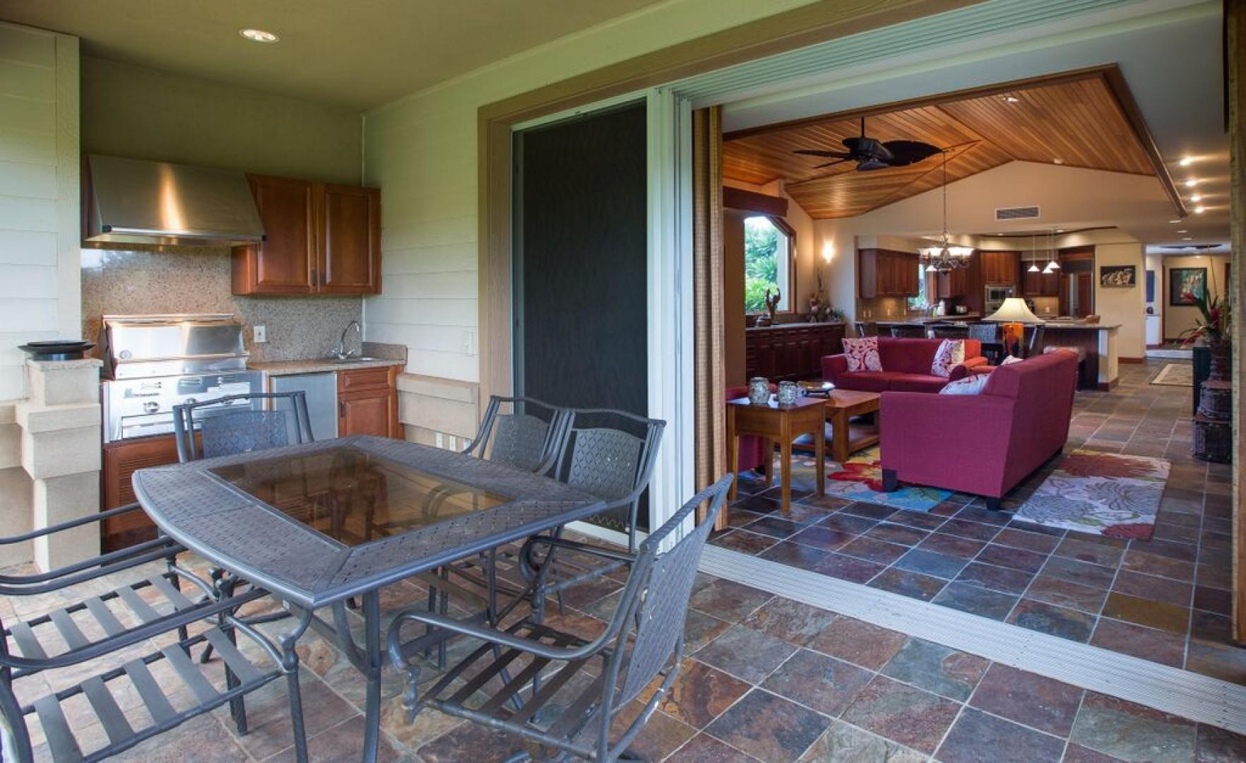 Covered outdoor dining space