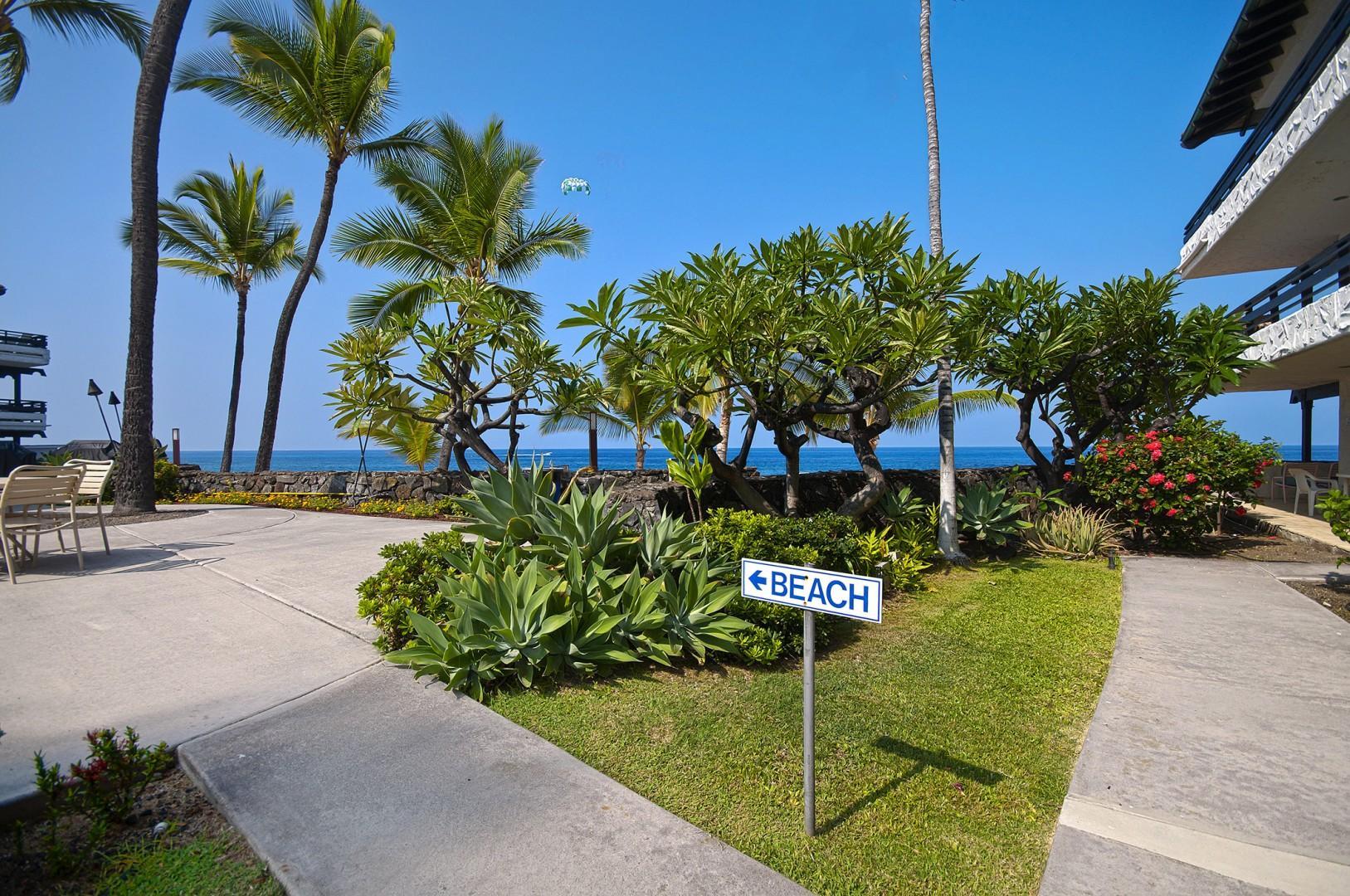 Man made beach access signs