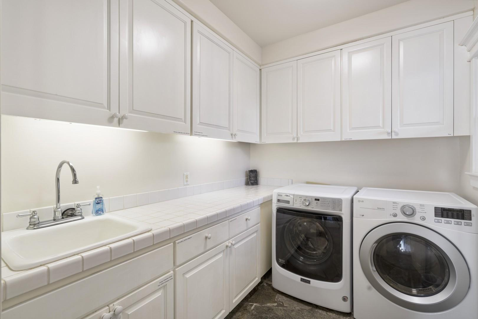 Over-sized laundry room with provisions for your stay