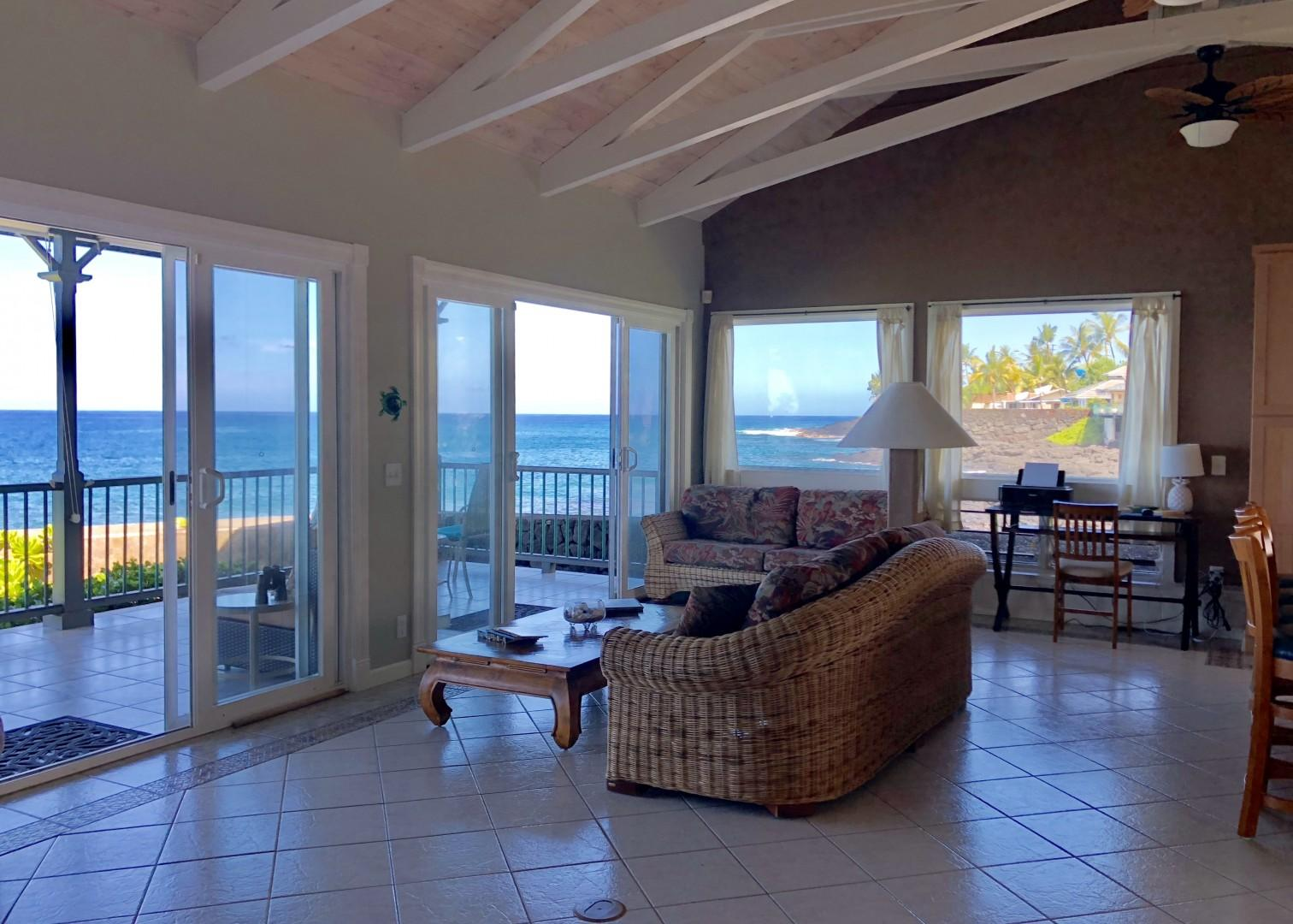 Comfortable sofas to take in the Ocean views!