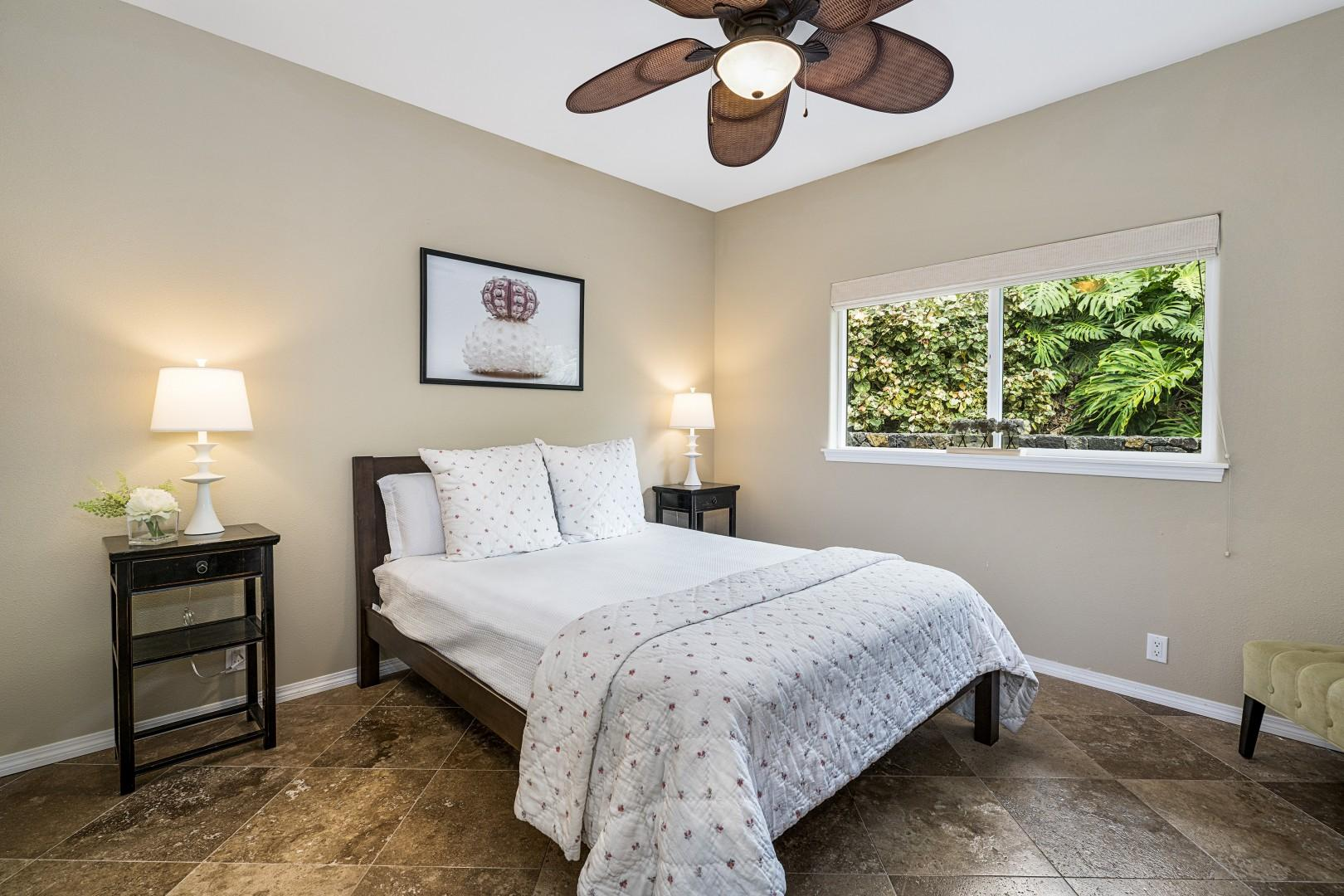 Guest bedroom equipped with memory foam Queen bed & A/C