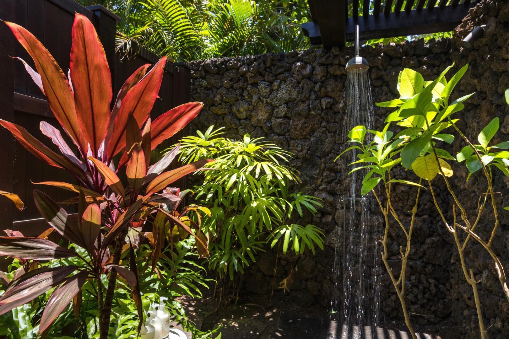 Second bedroom's private outdoor shower garden.