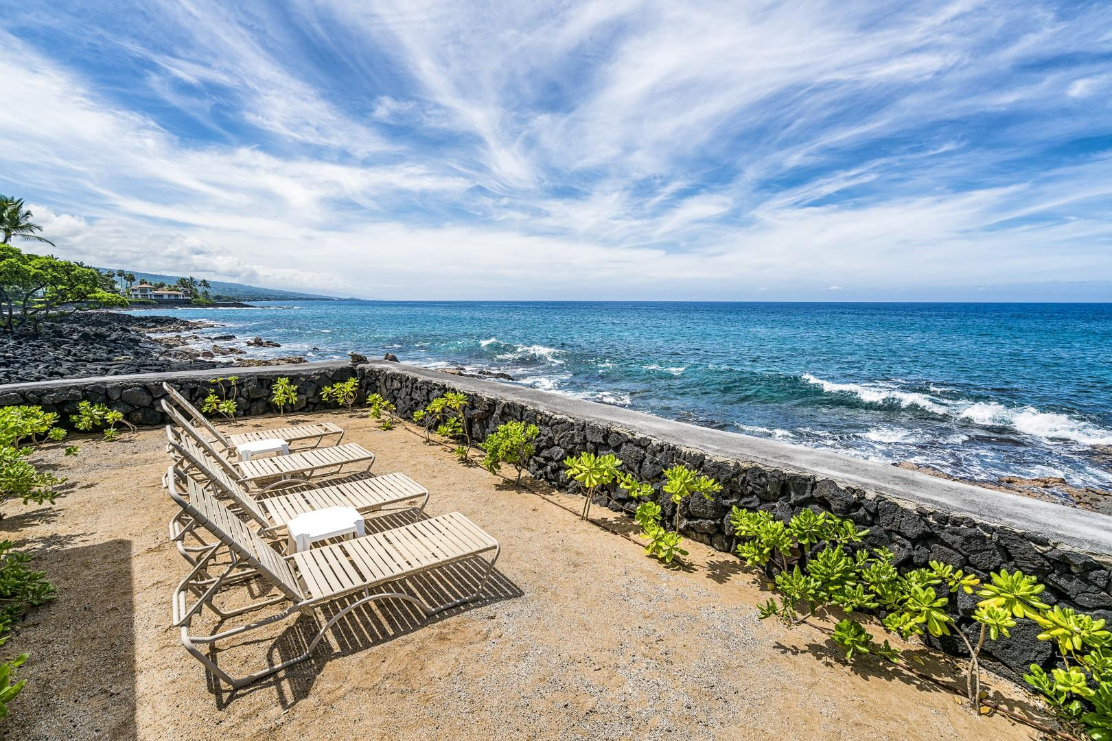 Sit by the oceans edge and take in that Kona sun