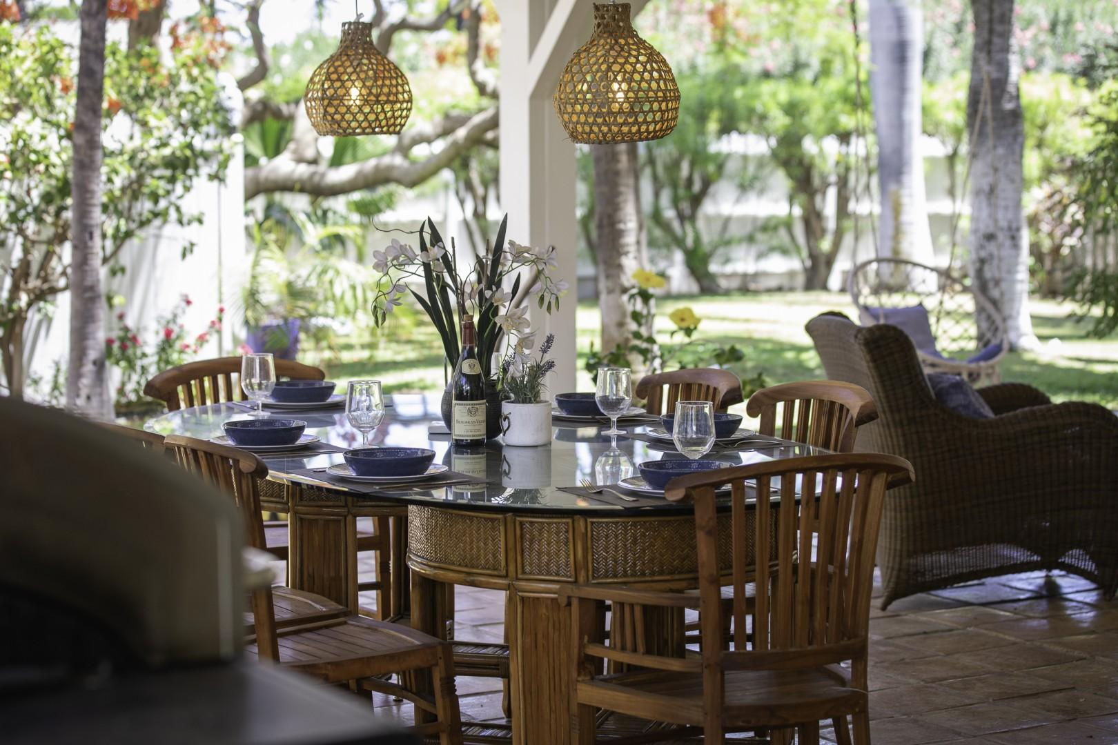 Peaceful outdoor dining.