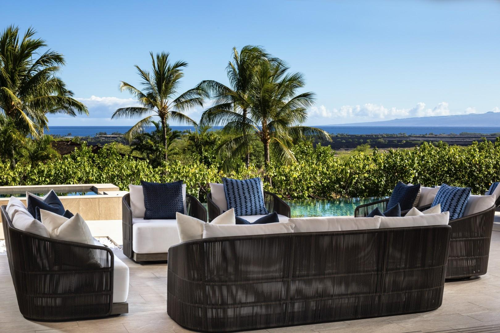 Close-up view of graceful and comfortable lanai seating.