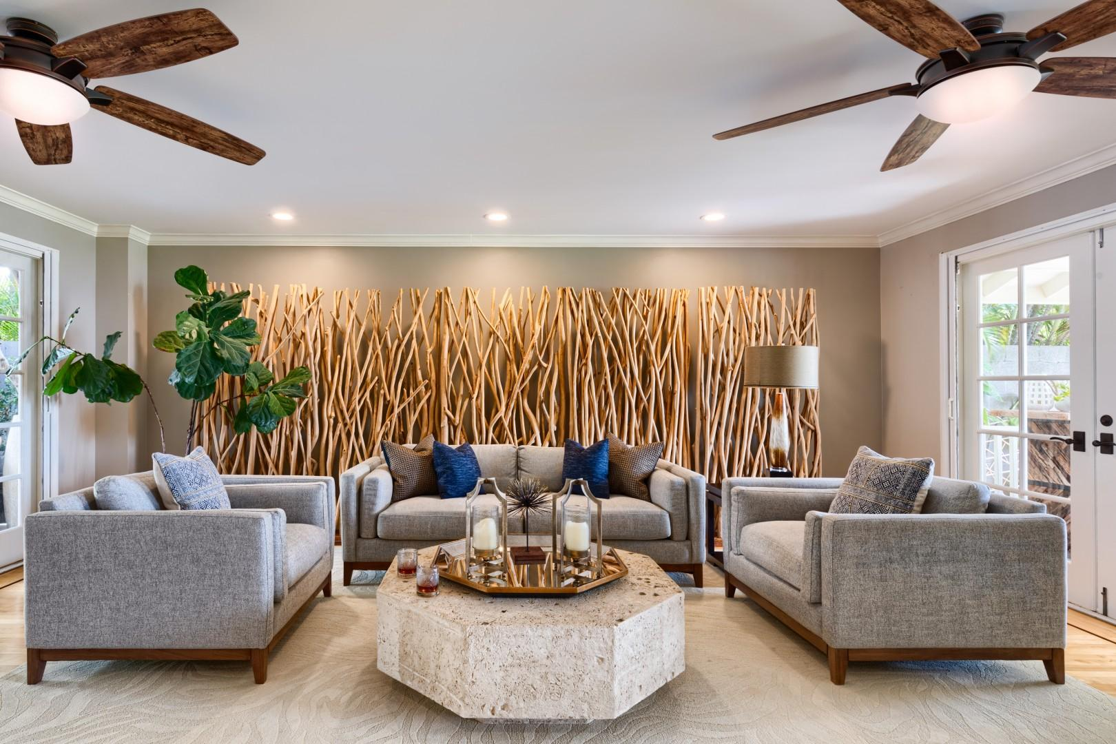 The family room is central to all of the excitement - with one set of doors facing the pool area, and one set facing the ocean. There are video games and cable provided at the villa.