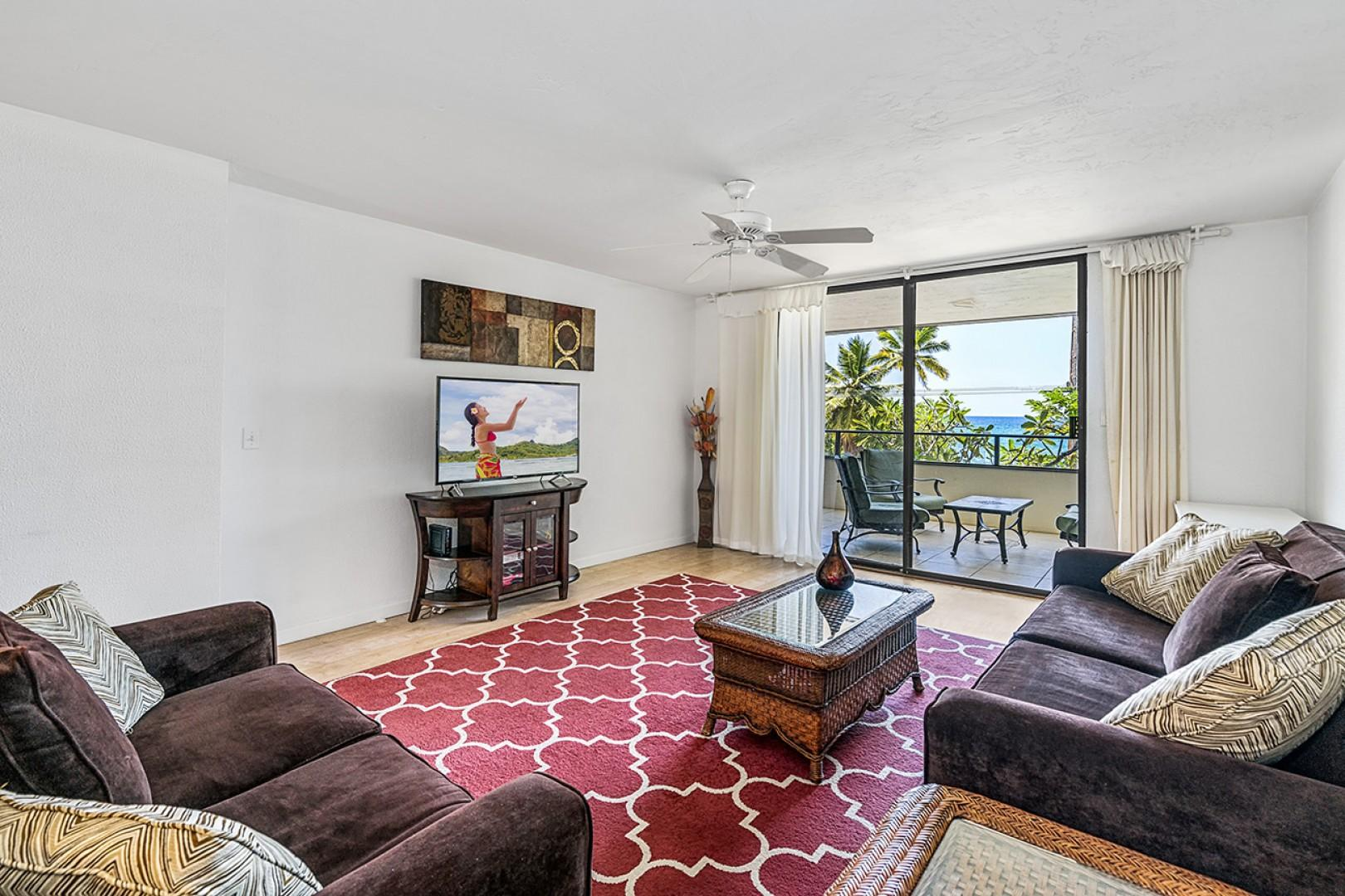 Living room with central A/C and ocean views!