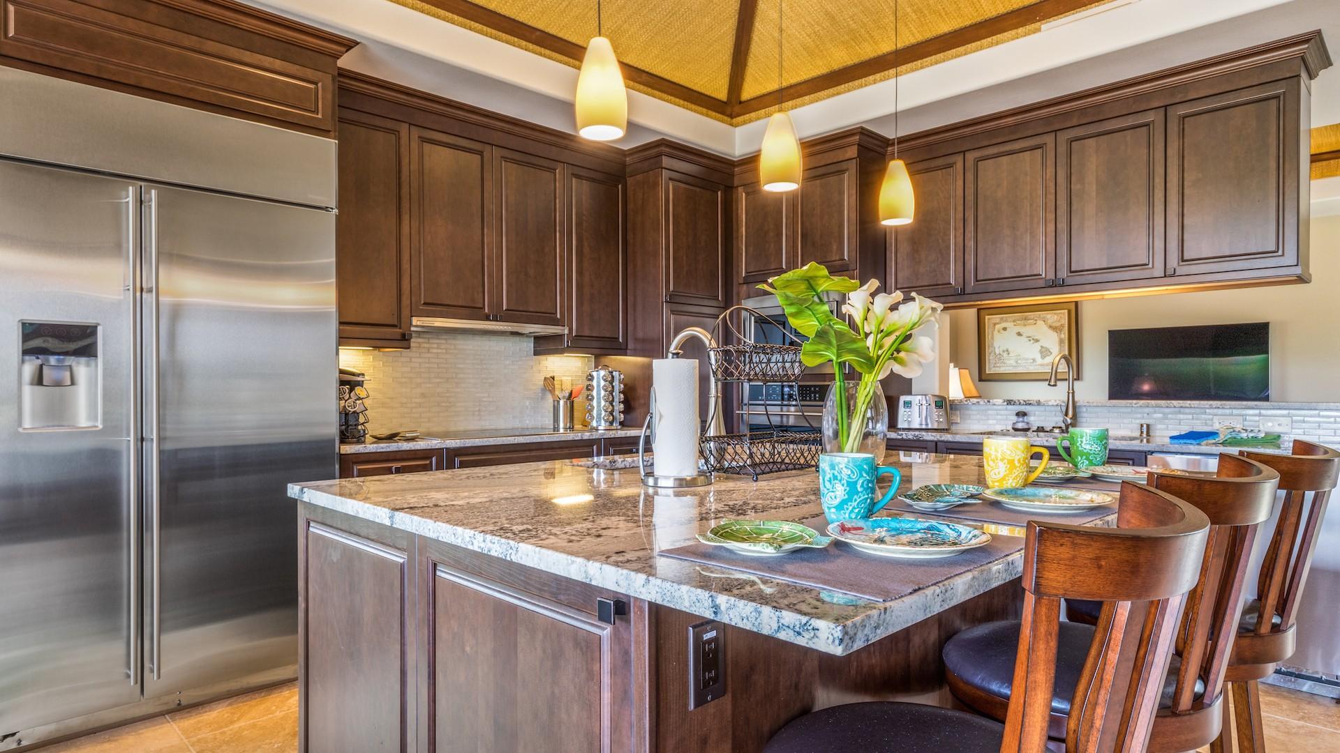 Gleaming modern gourmet kitchen.