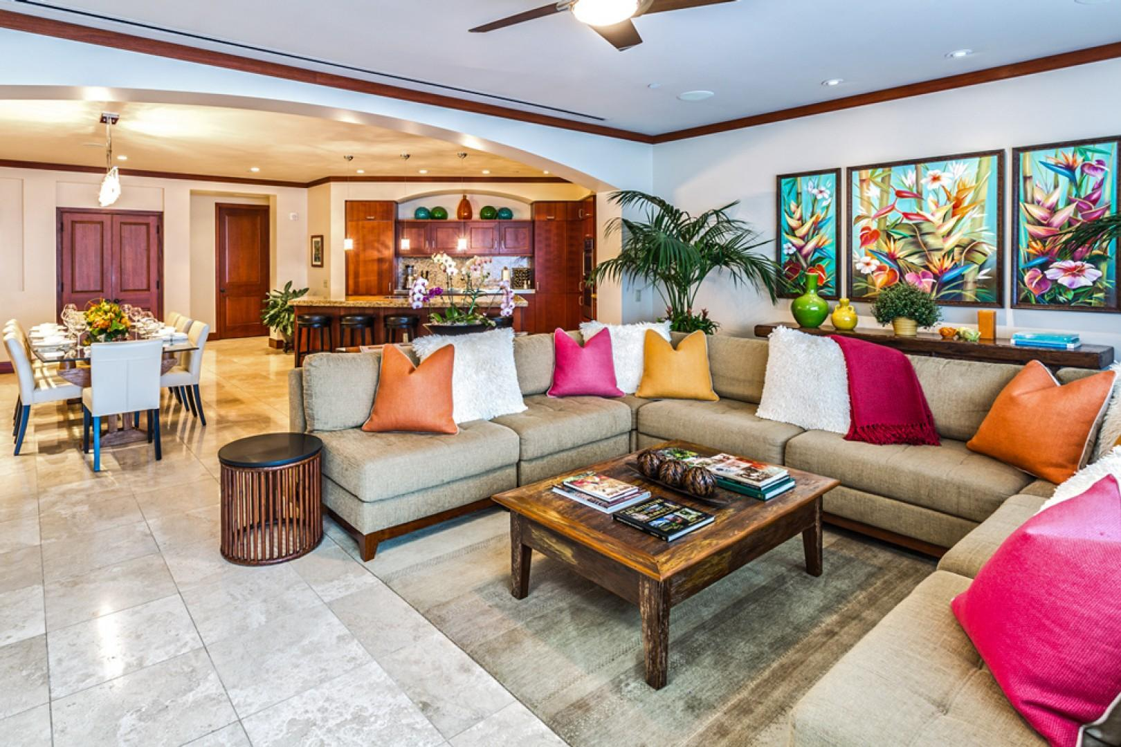 L509 Sandcastles Suite Spacious Great Room with Gourmet Kitchen with Five Bar Stools, Indoor Dining Table Seats Eight Guests and Large Ocean View Living Room