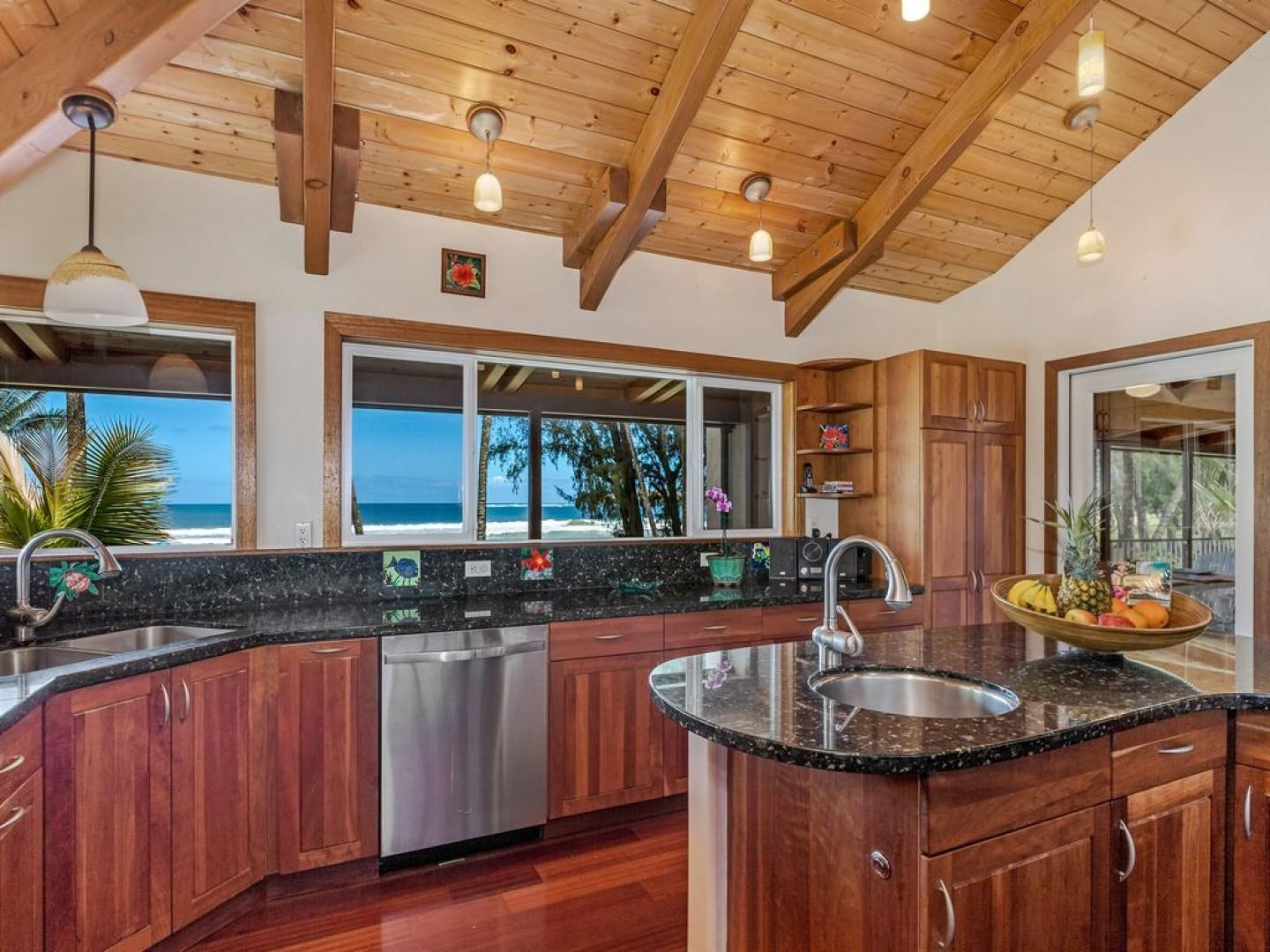Kitchen with views of Hanalei Bay