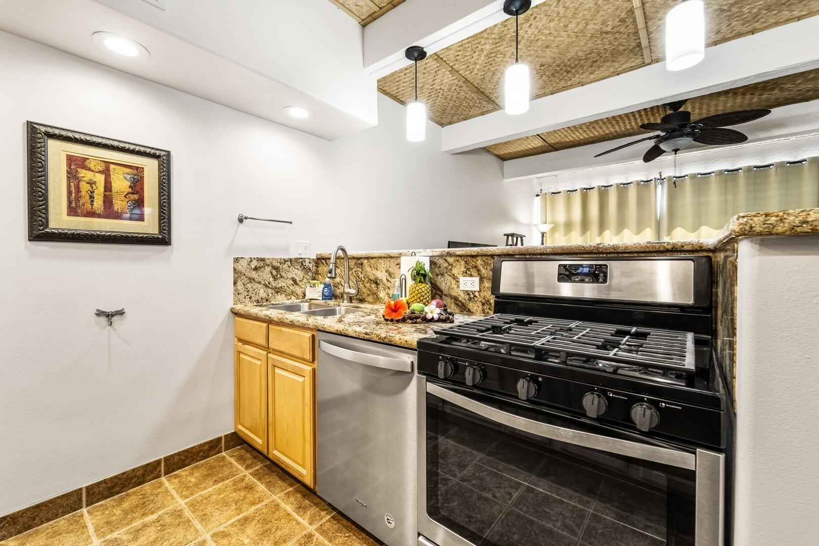 Stainless appliances with a gas range!