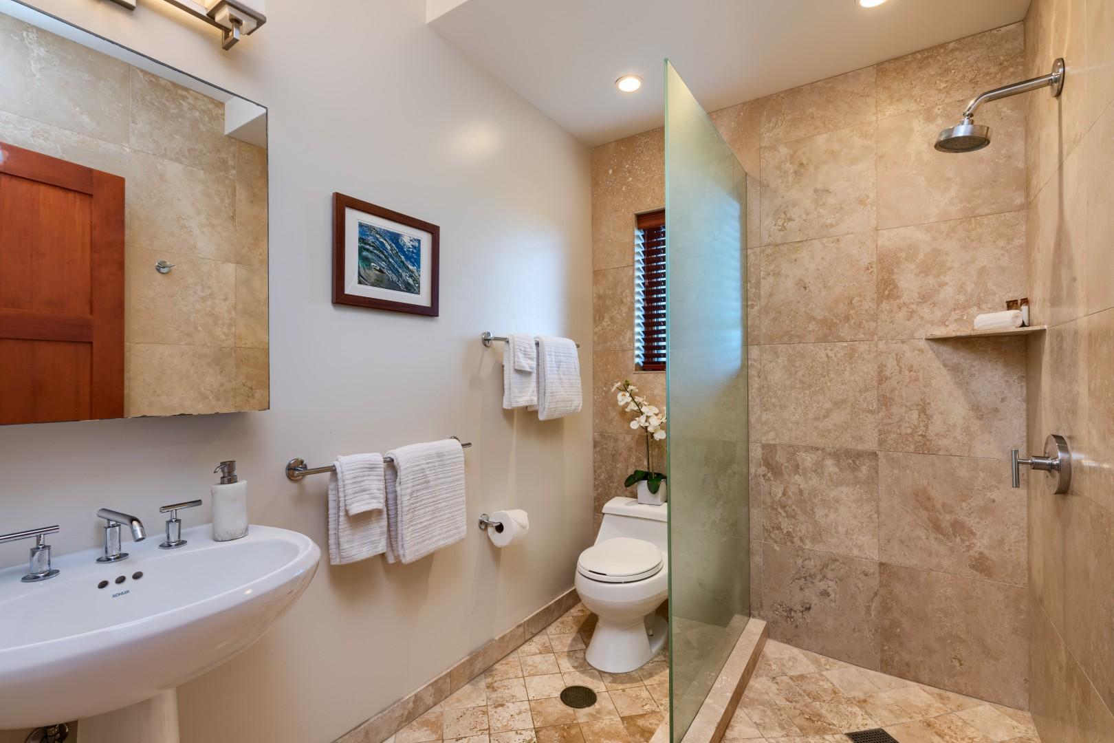 First floor ohana bathroom with luxurious shower!