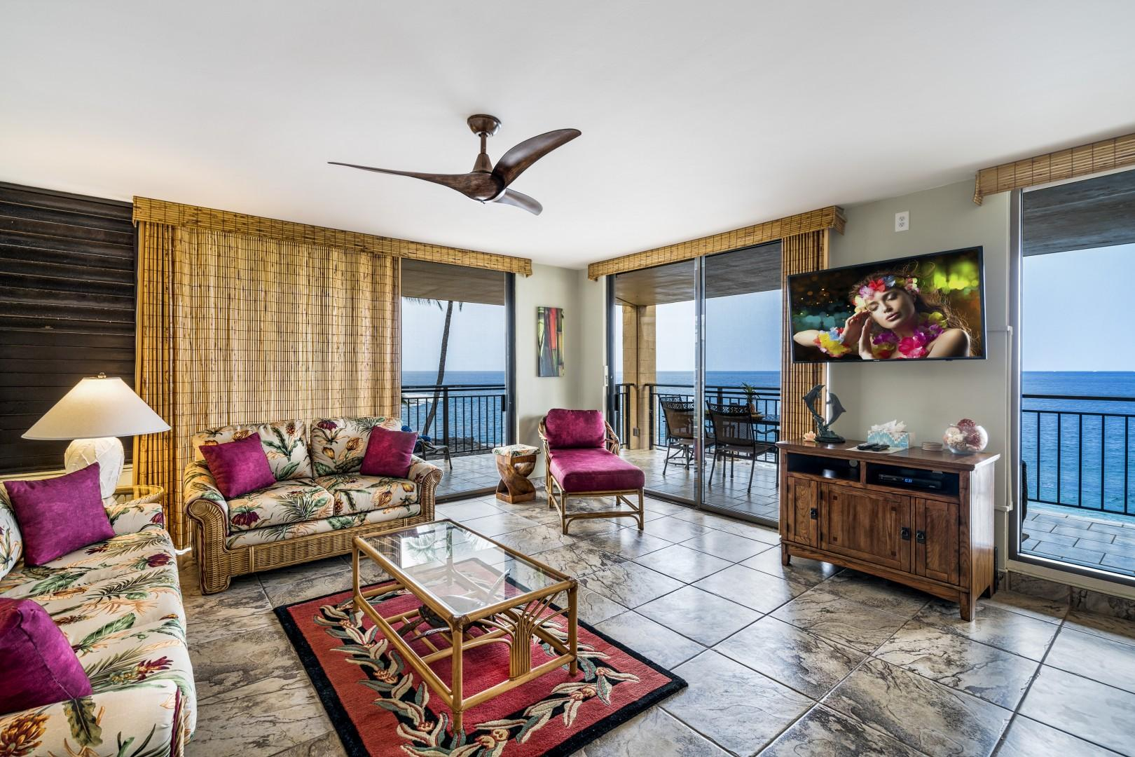 Spacious tropically appointed living room!