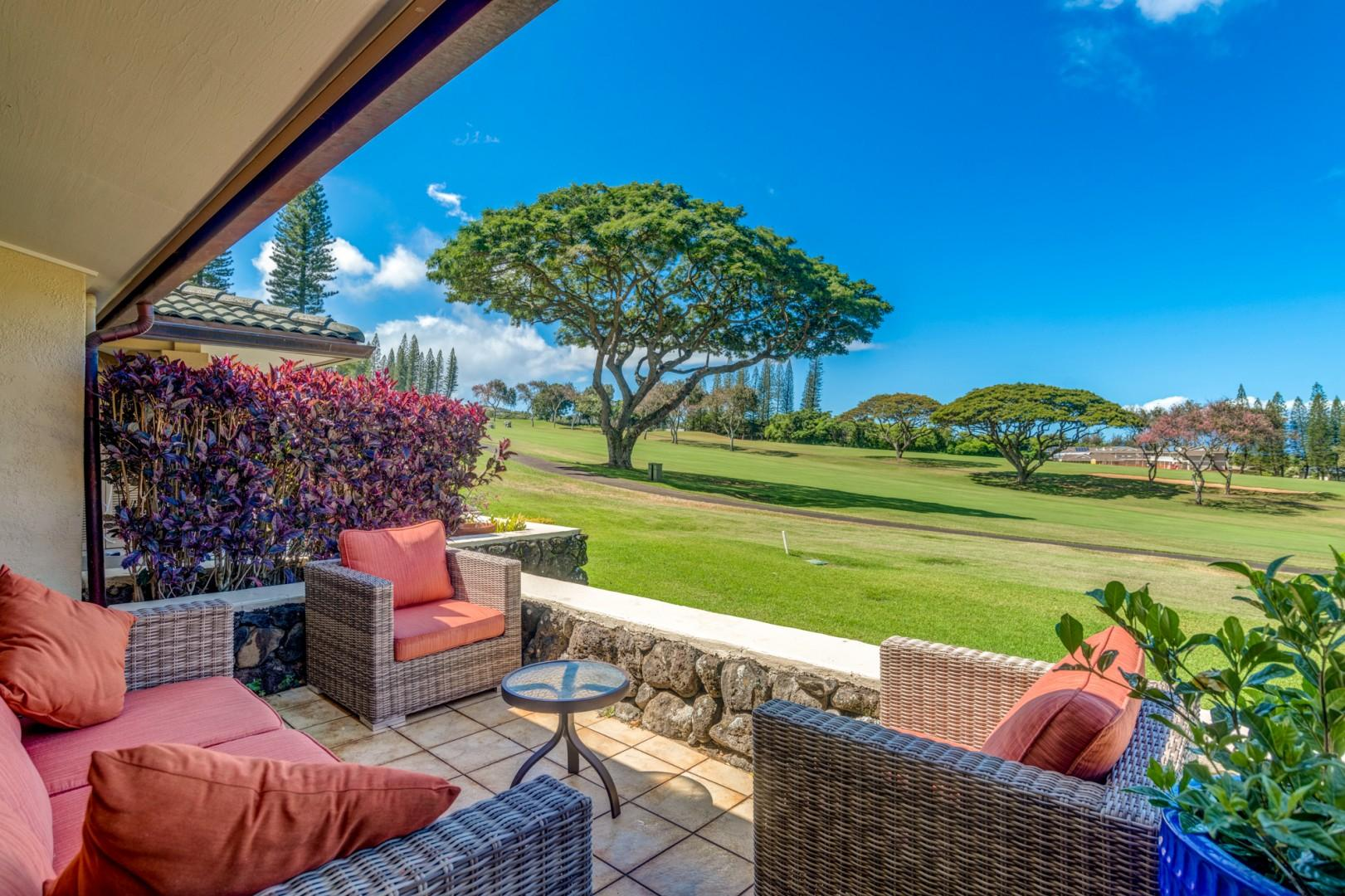 Expansive views of world famous Kapalua Bay golf course