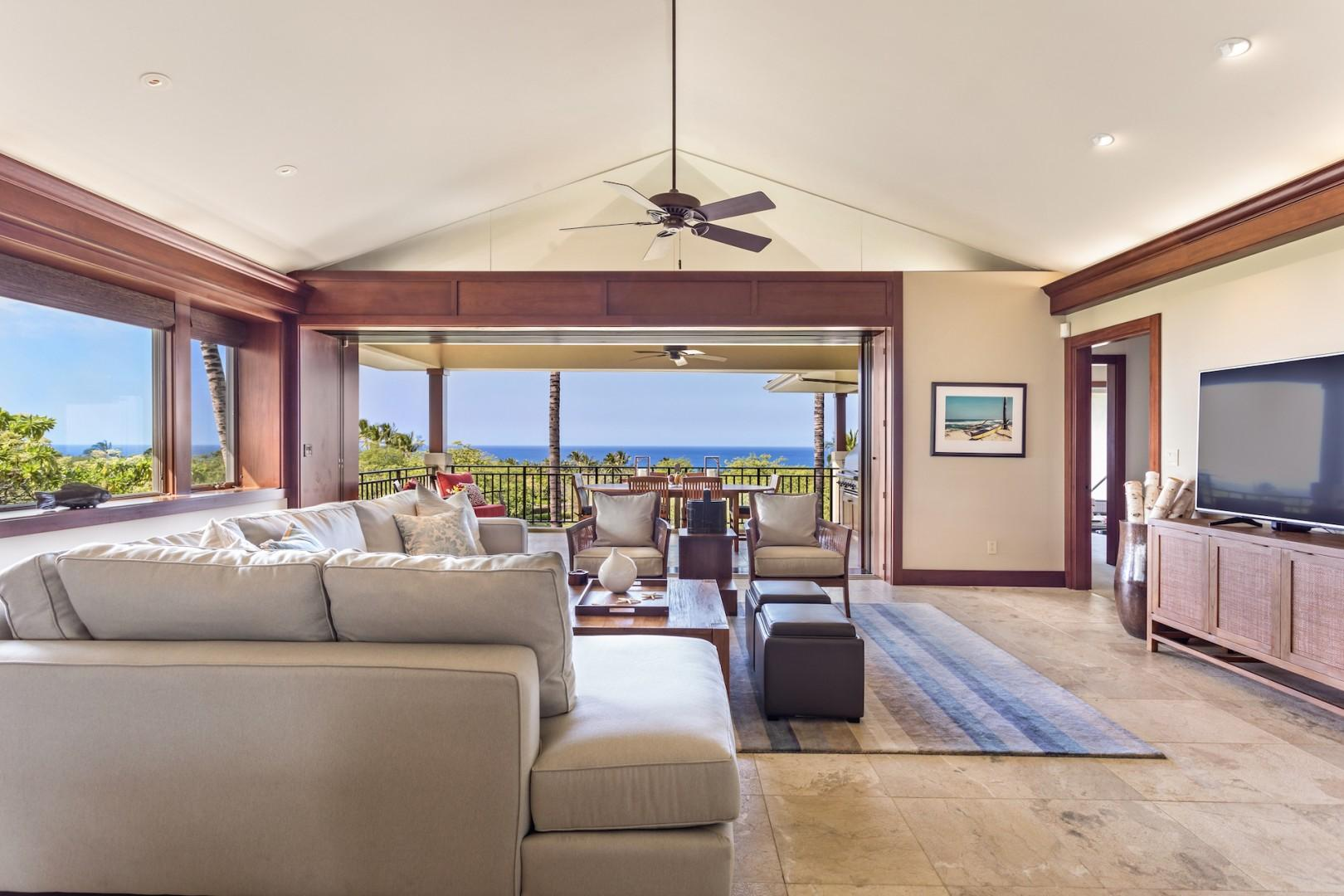 Living area with ample seating and ocean views.