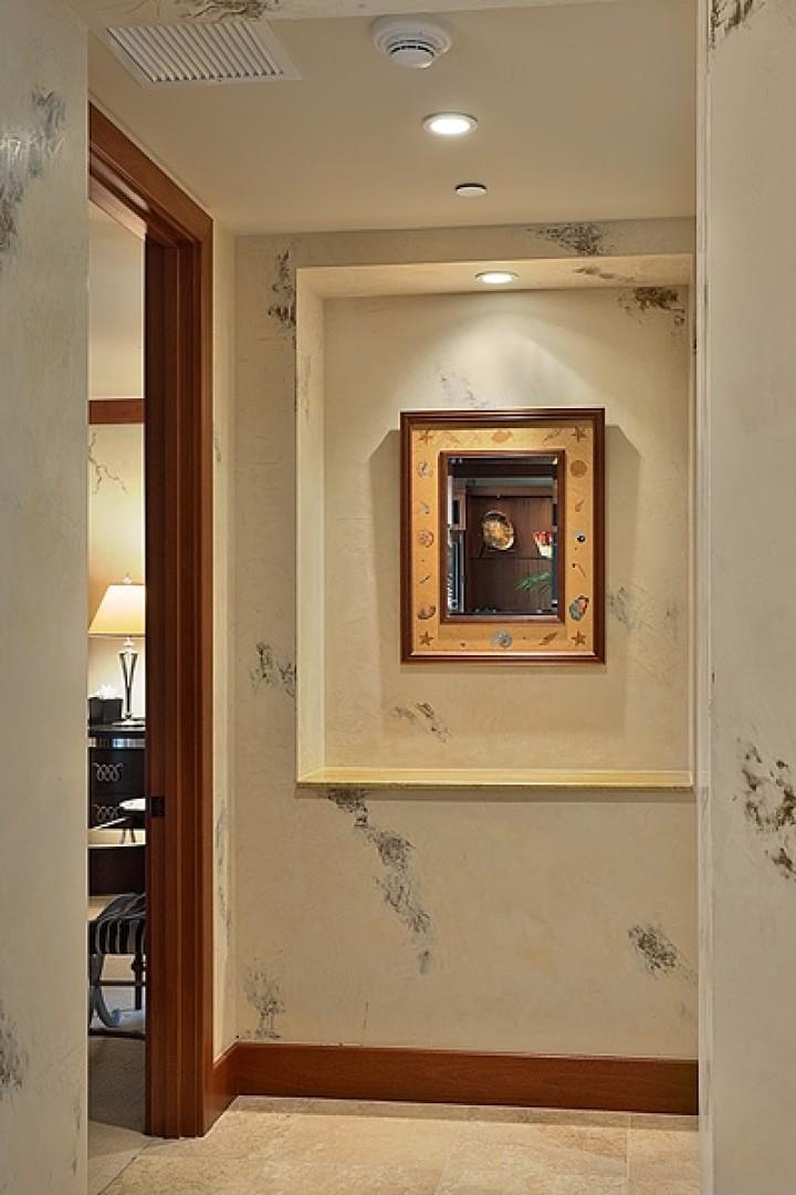 Charming and Unique Decor Throughout - Here is a Koa Wood Mirror with Inlaid Shell and Mother Of Pearl Detail