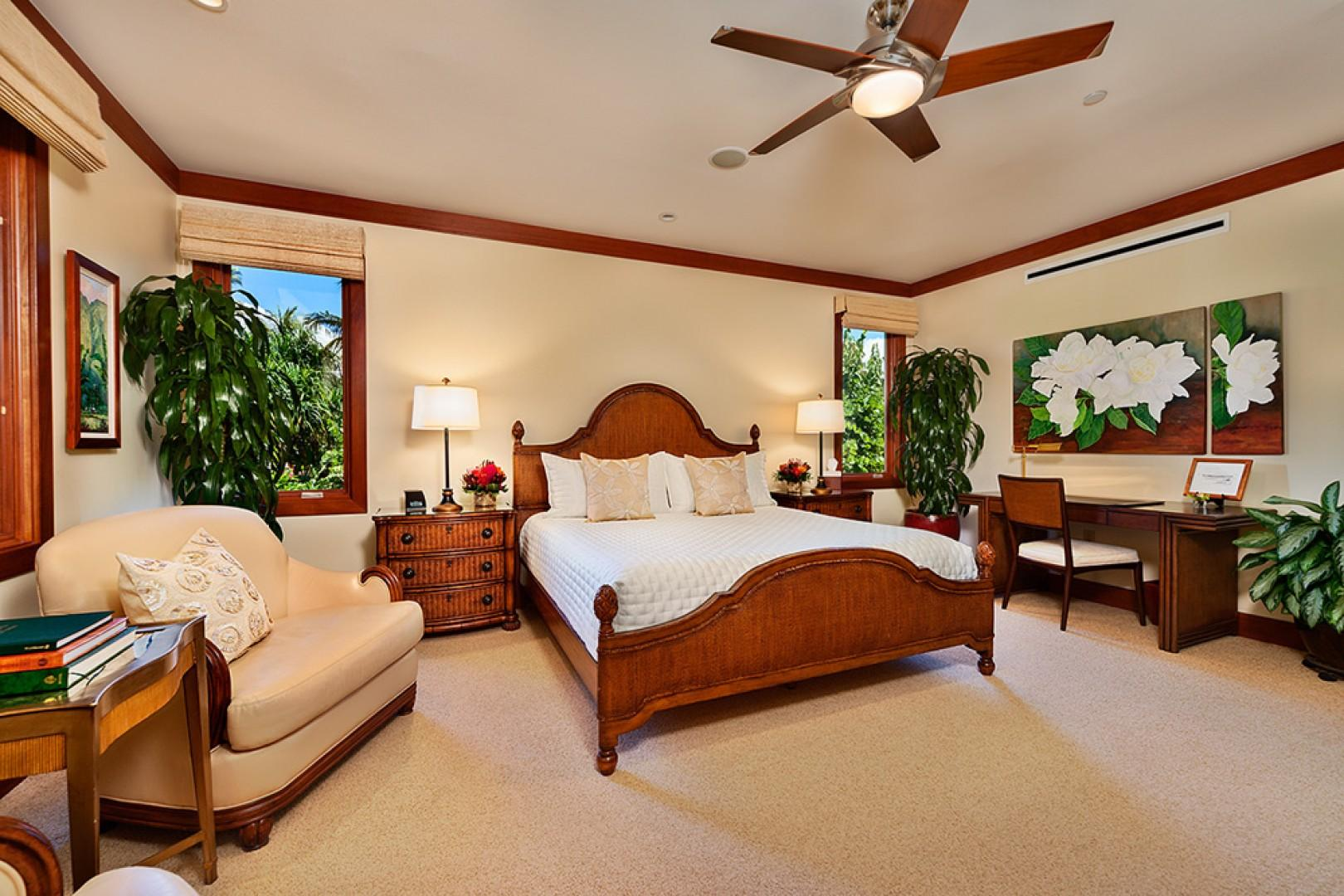The Second Master Bedroom Suite with Direct Pool, Ocean and Sunset Views, King Bed, Leather Seating, Large Desk, Samsung HD Smart TV/DVD, En-Suite Private Bath, and Original Oil Paintings by Betty Hay Freeland and Sarah Howard of Maui