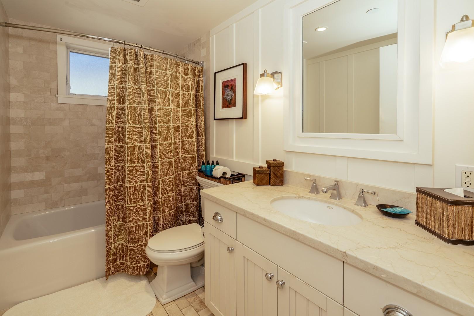 Full size guest bathroom.
